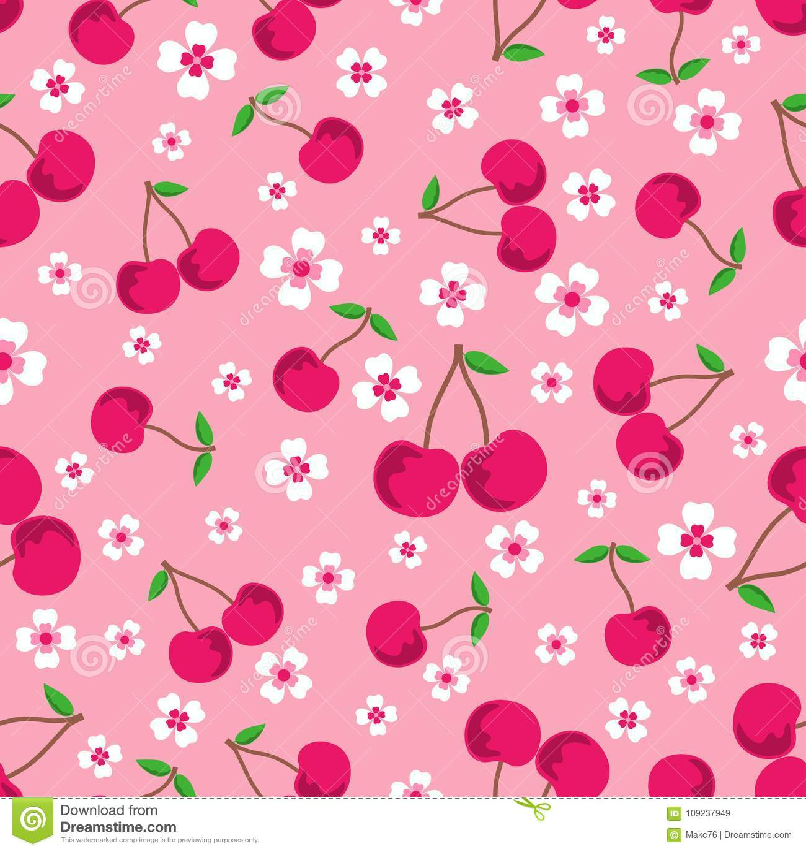 Modèle avec des cerises et des fleurs