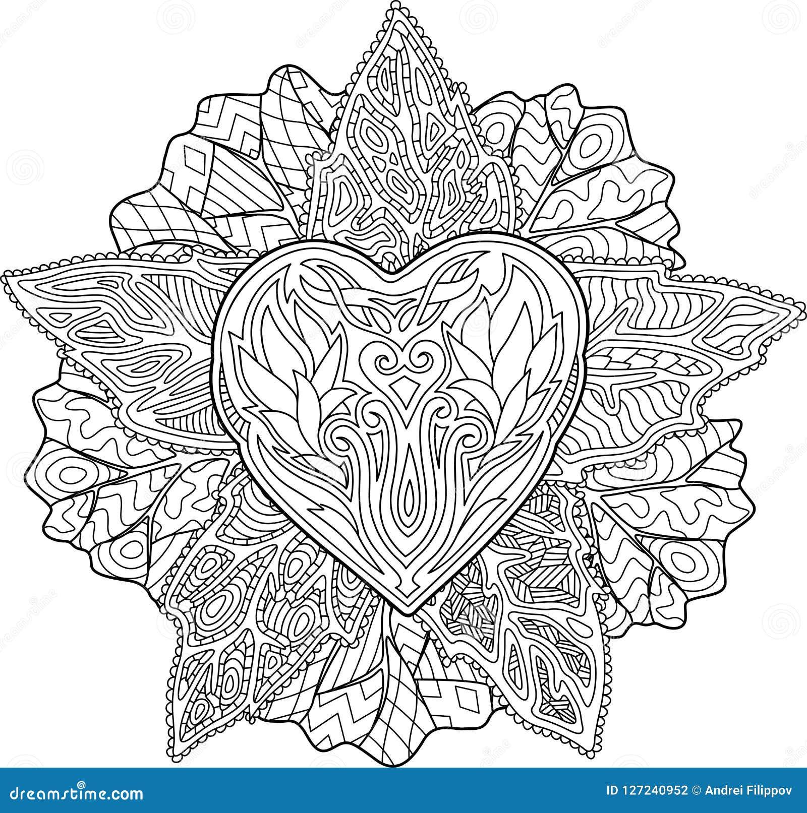 Coloriage Etoile Coeur.Modele Avec Le Coeur Dans La Forme D Etoile Illustration De