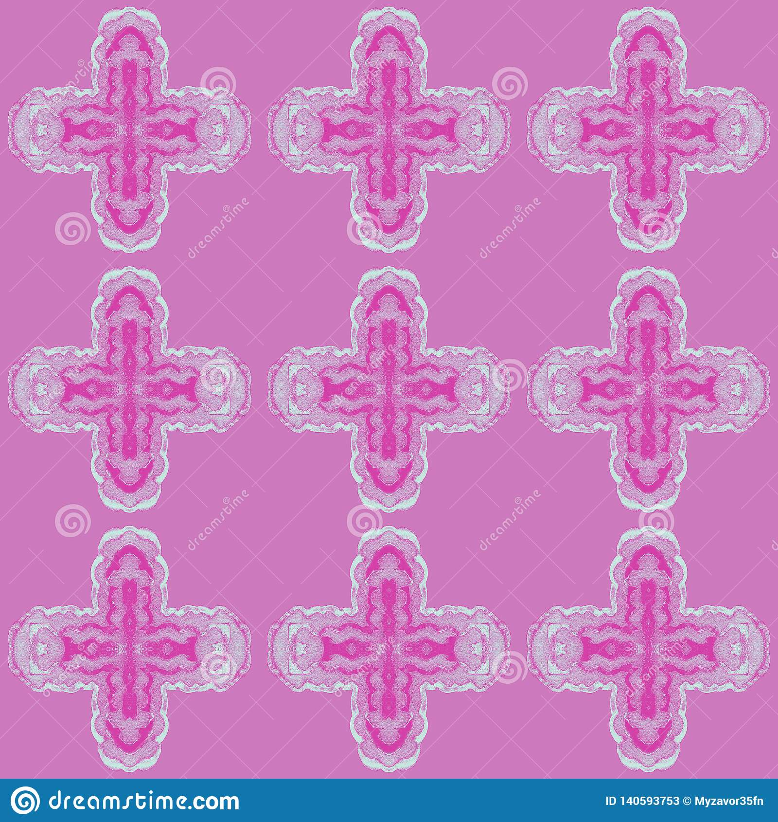 Modèle avec le décor de répétition cruciforme sur un fond coloré