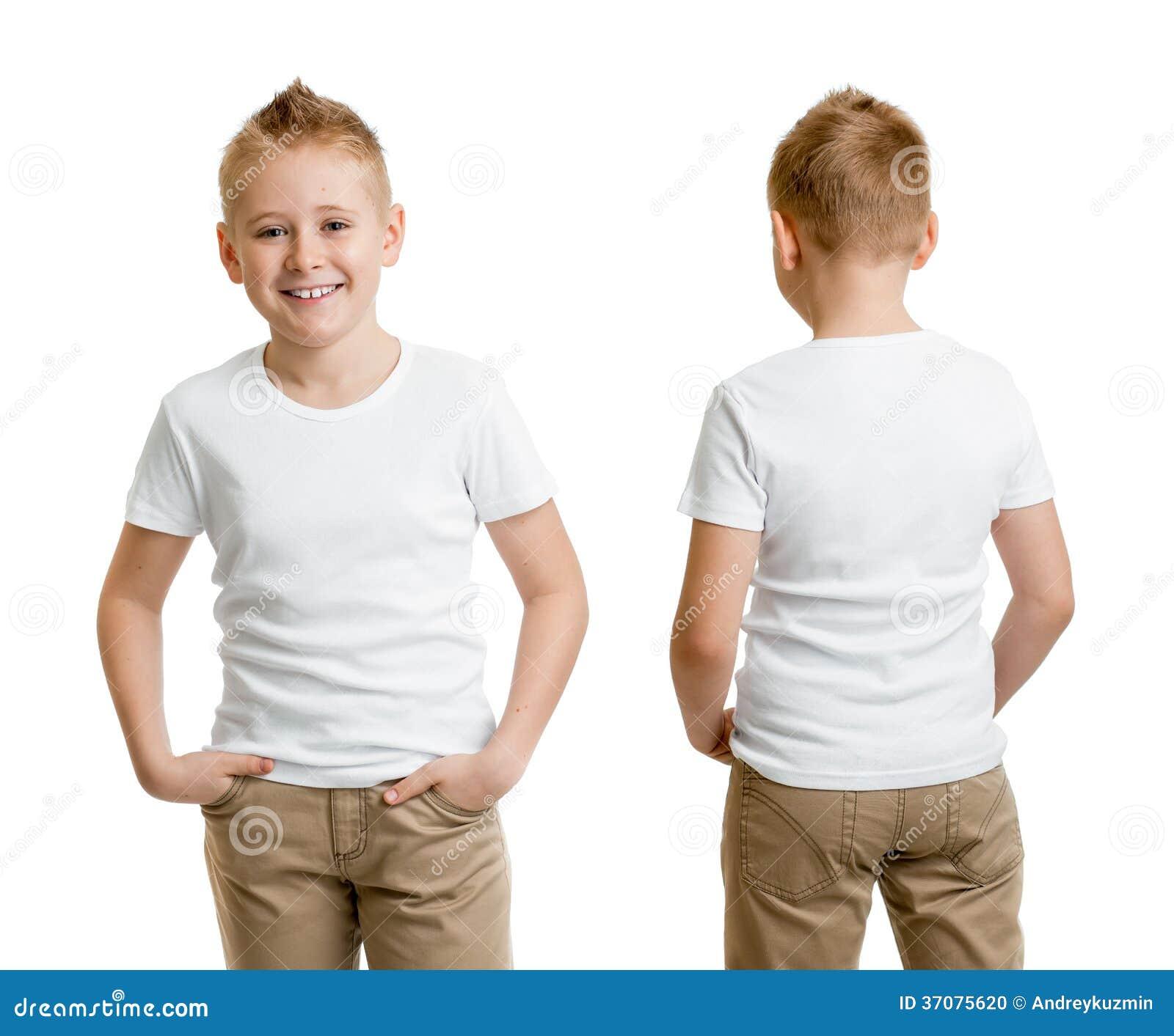 mod le beau de gar on d 39 enfant dans le t shirt ou le dos et l 39 avant blancs de t shirt photo. Black Bedroom Furniture Sets. Home Design Ideas