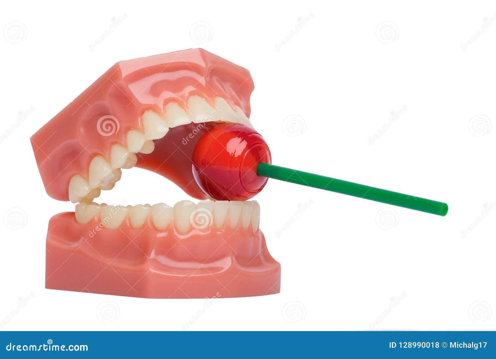 Modèle blanc orthodontique de dents utilisé en art dentaire tenant la lucette rouge Concept d hygiène buccale