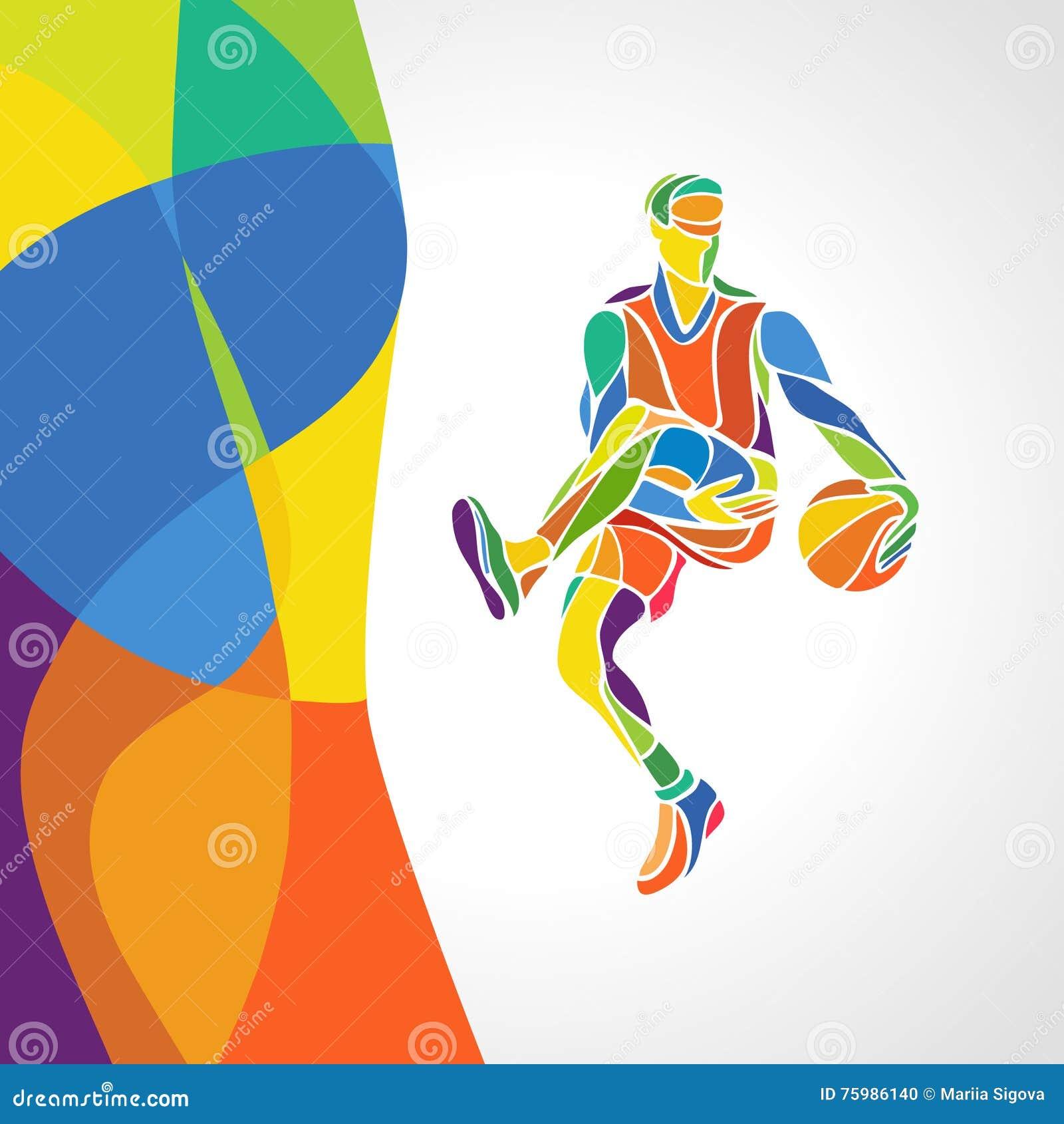 mod u00e8le color u00e9 abstrait avec le joueur de basket illustration de vecteur