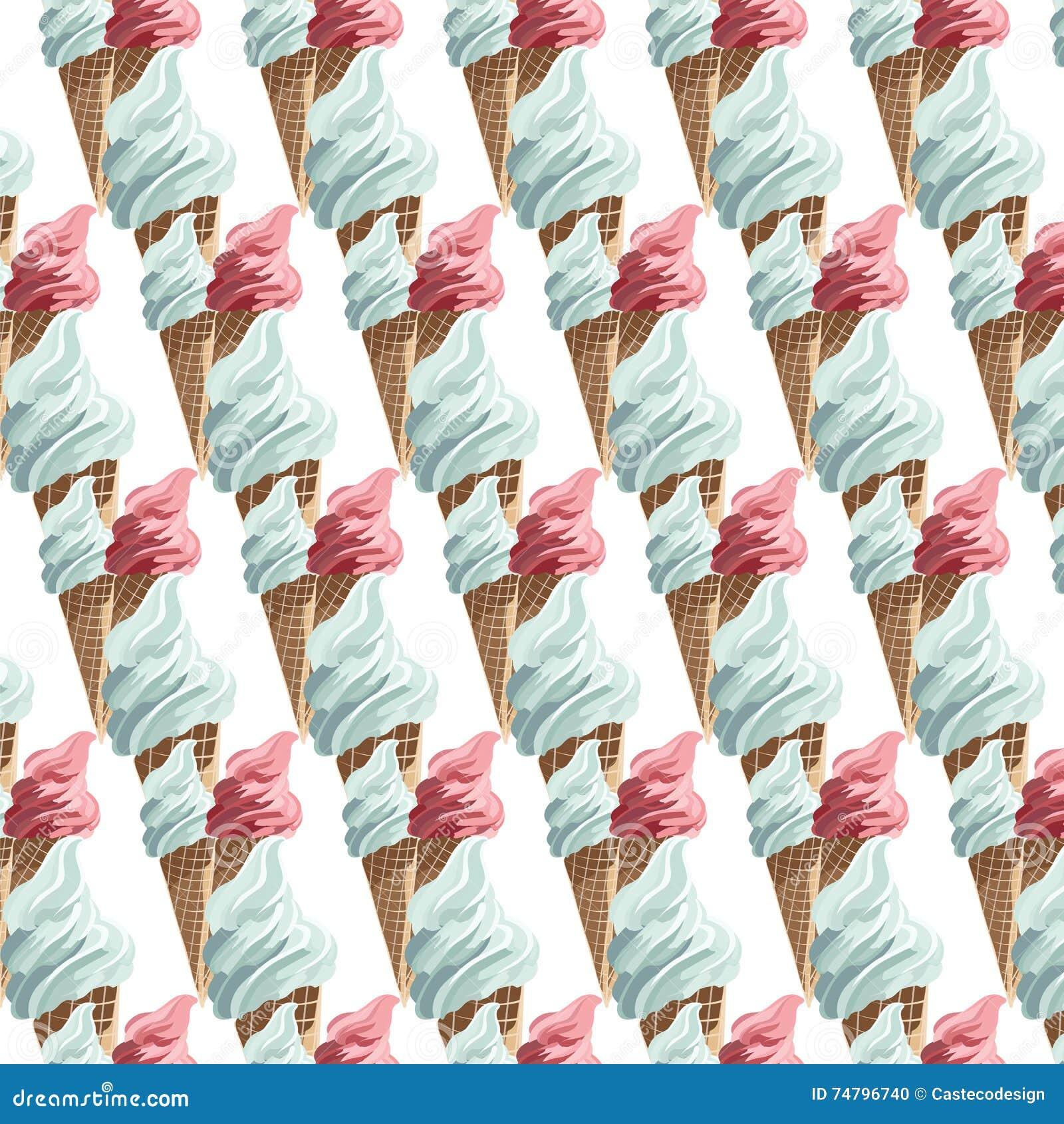 Modèle coloré de cornets de crème glacée de vecteur