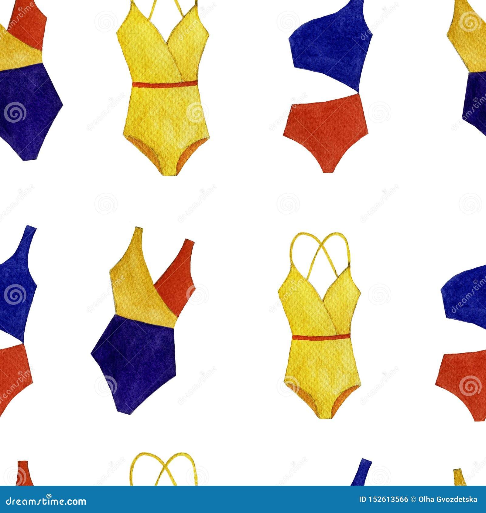 Modèle coloré de maillot de bain d aquarelle sans couture des objets d isolement sur le fond blanc