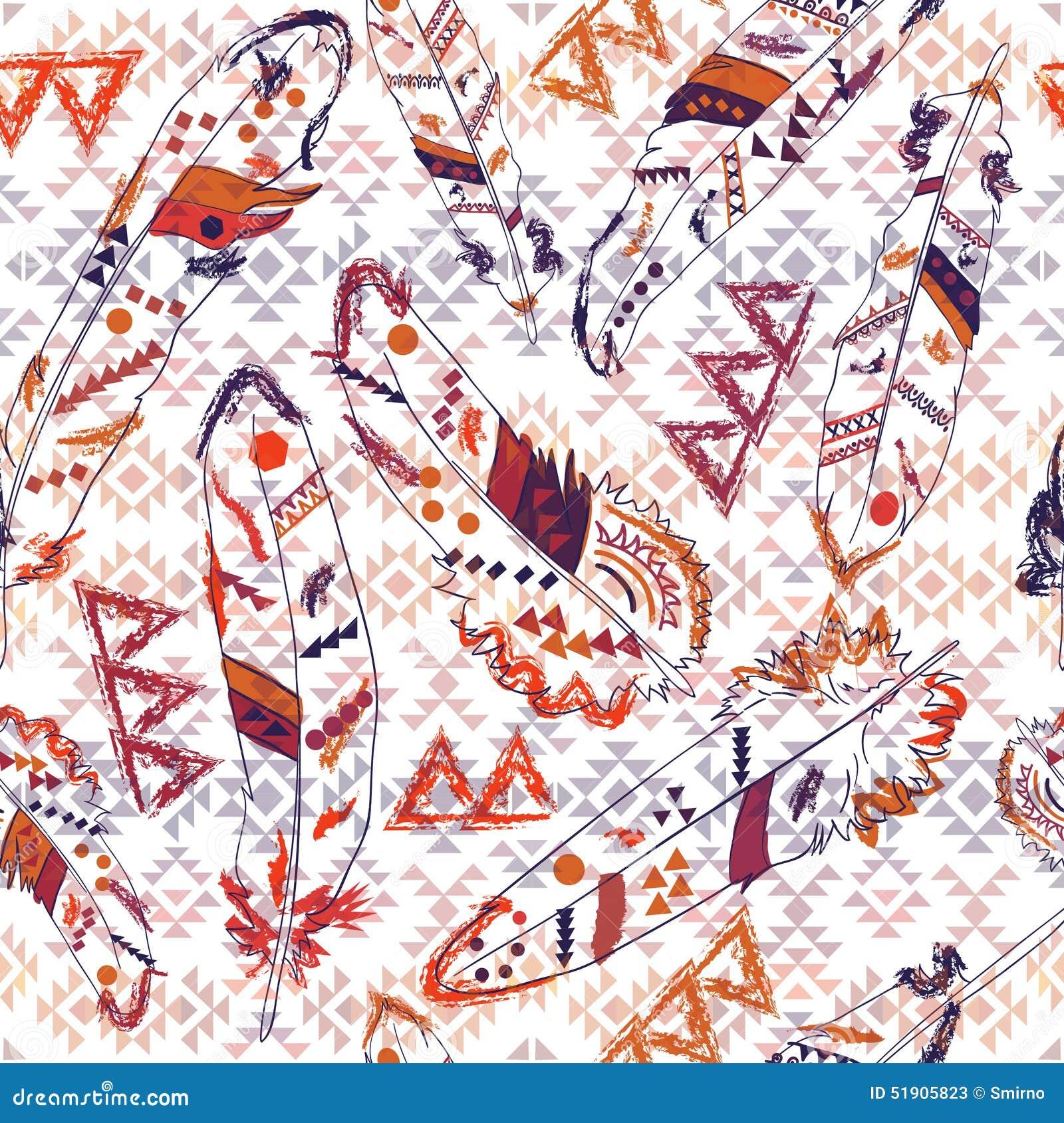 Modèle coloré de Navajo avec des plumes