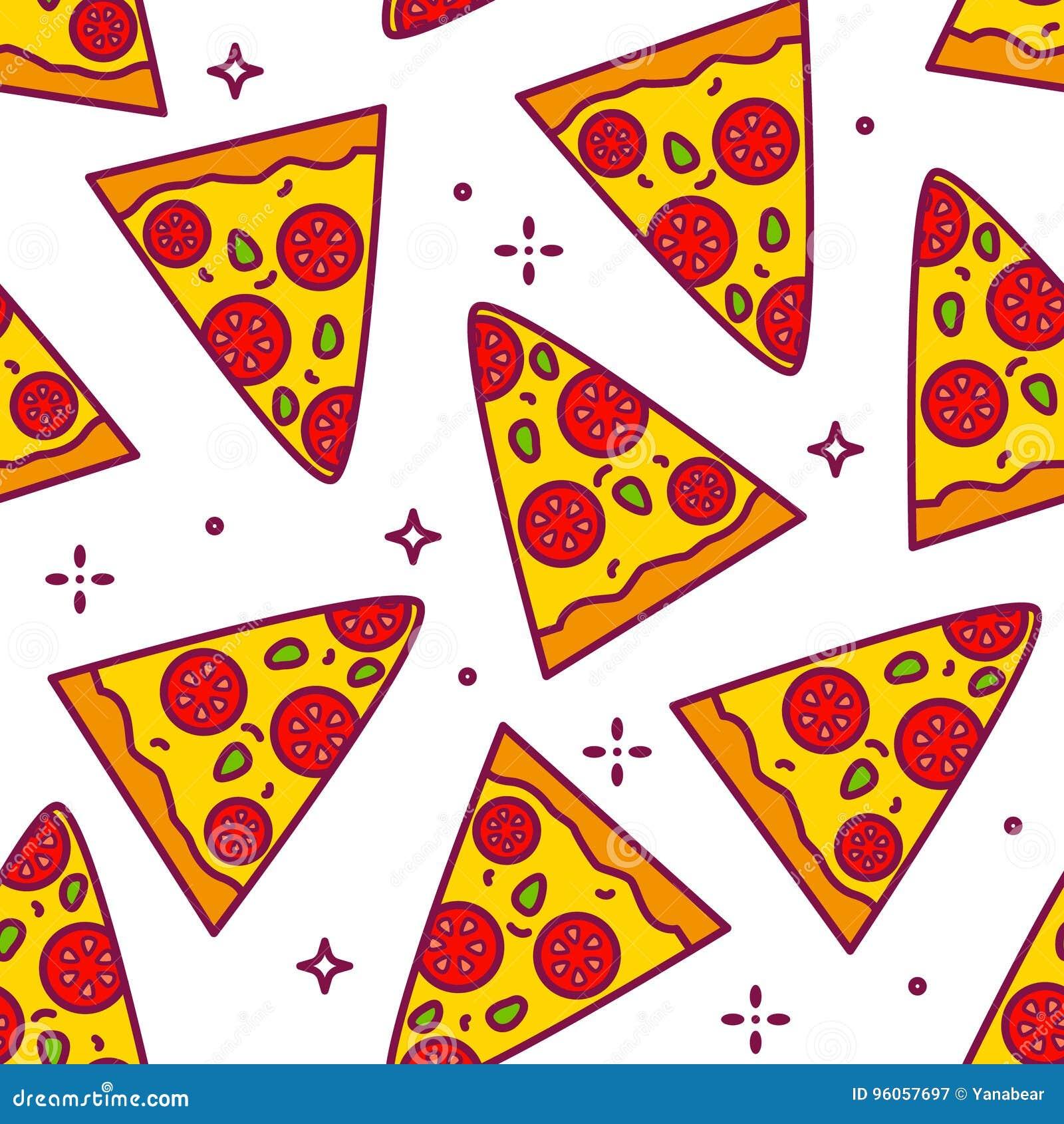 Modèle d été avec des morceaux de bande dessinée de pizza Ligne mince conception plate Fond pour les aliments de préparation rapi