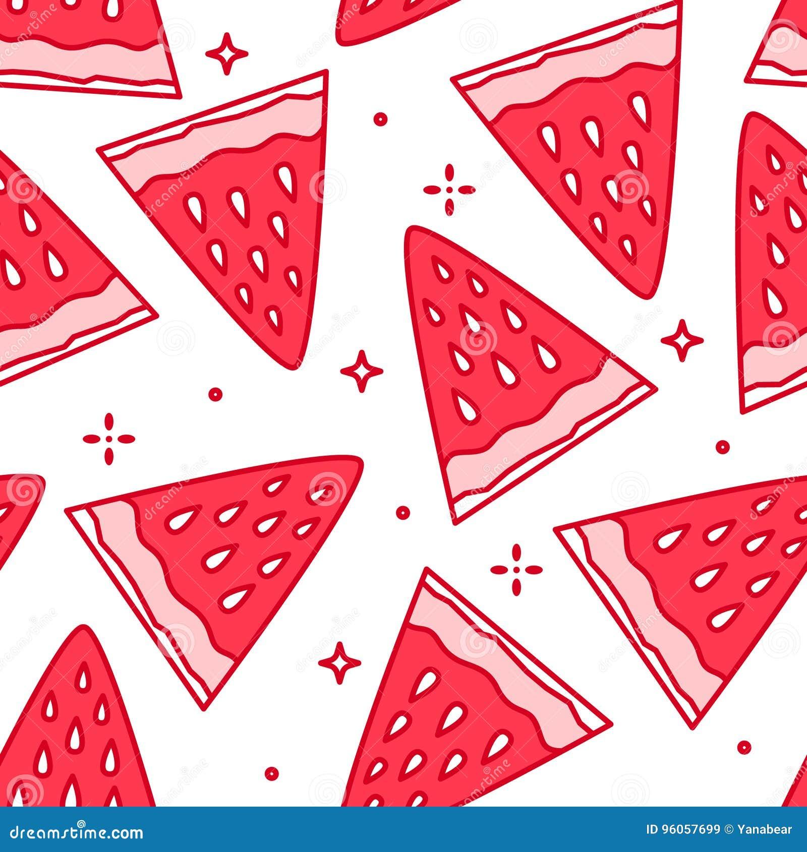 Modèle d été avec la fraise de bande dessinée Ligne mince conception plate Fond avec la nourriture d amusement