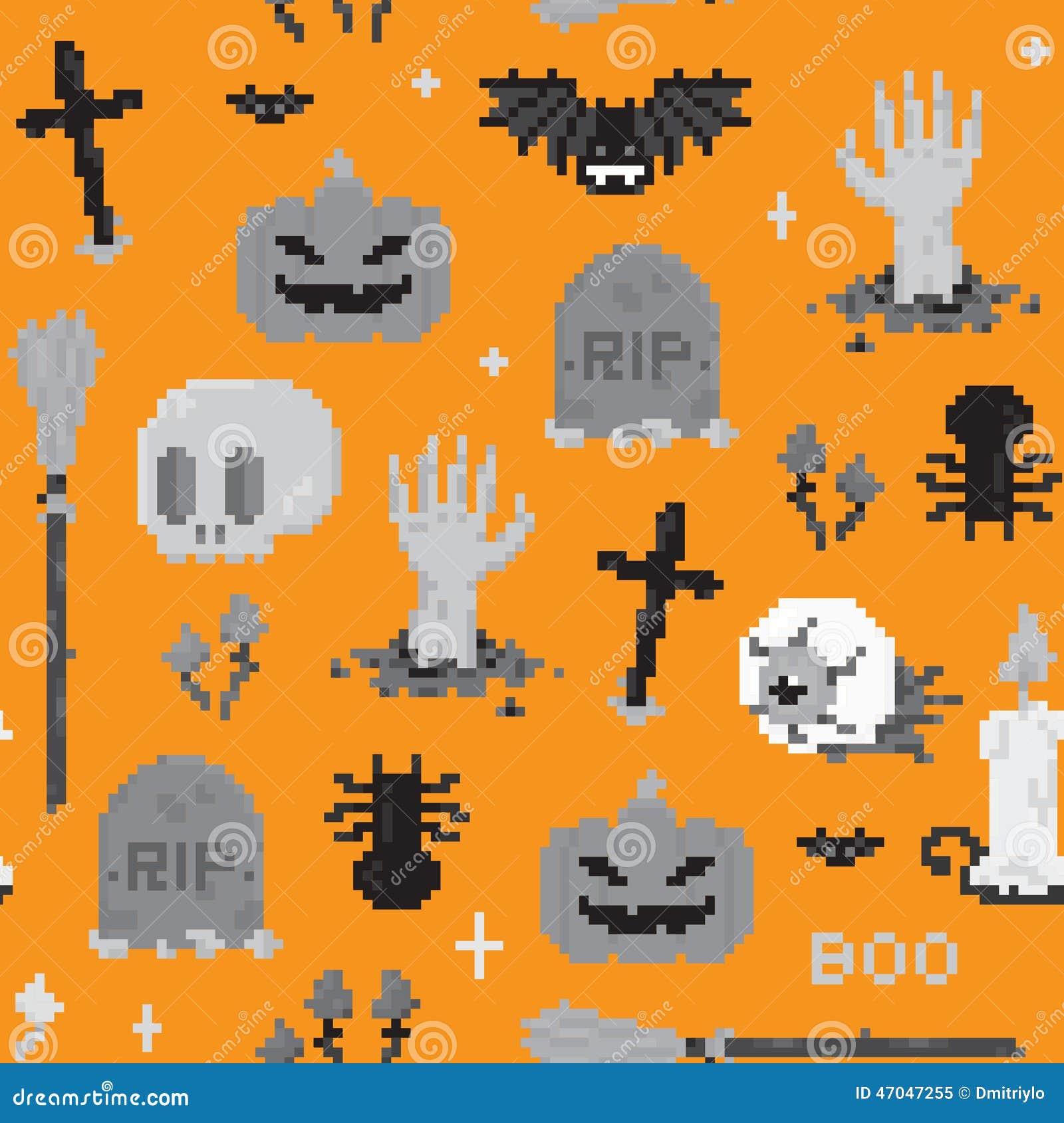 Modèle D Art De Pixel De Halloween Illustration De Vecteur