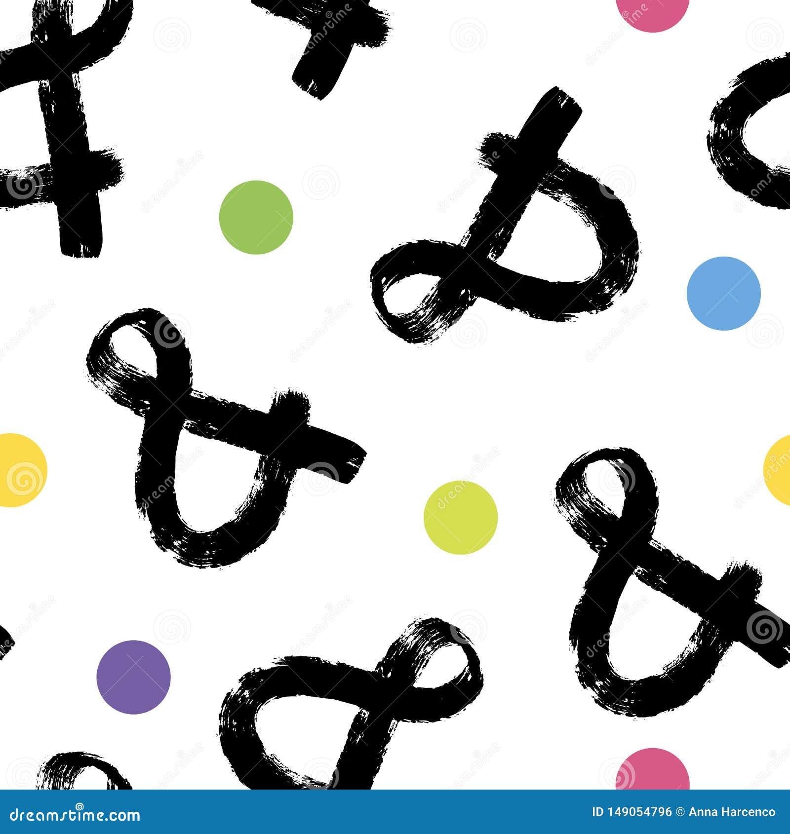 Modèle d esperluète fait à partir des symboles dessinant sur le fond de papier Configuration sans joint abstraite