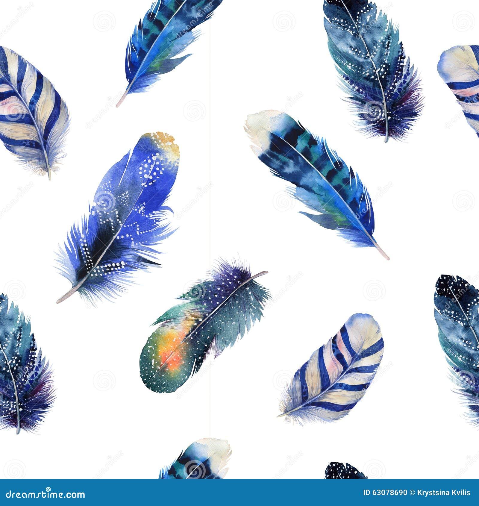 Download Modèle De Boho De Plumes D'oiseaux D'aquarelle Seamless Illustration Stock - Illustration du main, isolement: 63078690