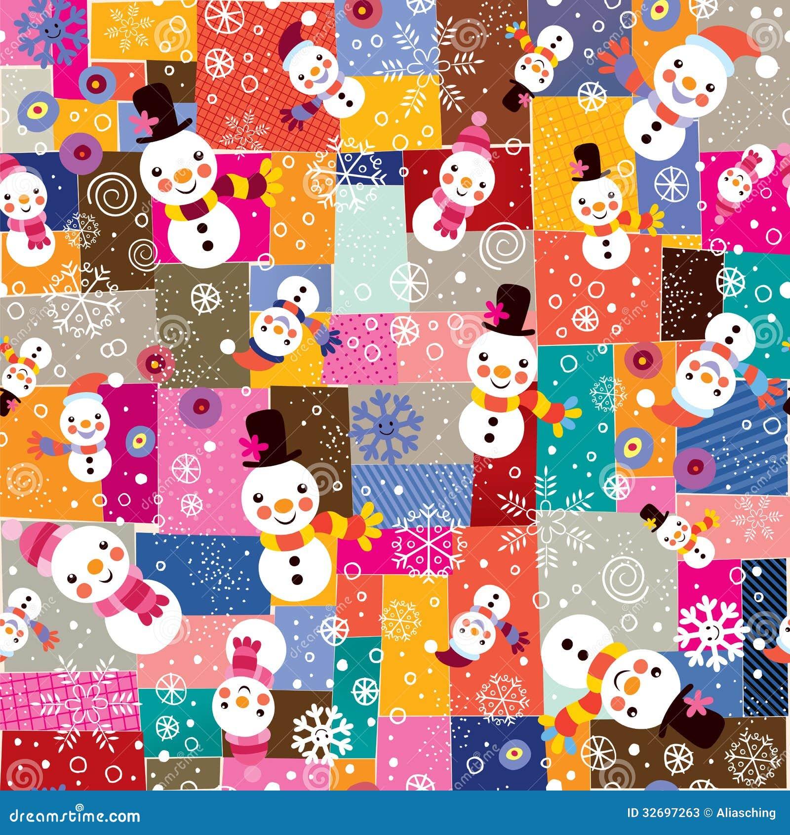 Mod le de bonhomme de neige de no l et de collage de flocons de neige illustration de vecteur - Modele bonhomme de neige ...
