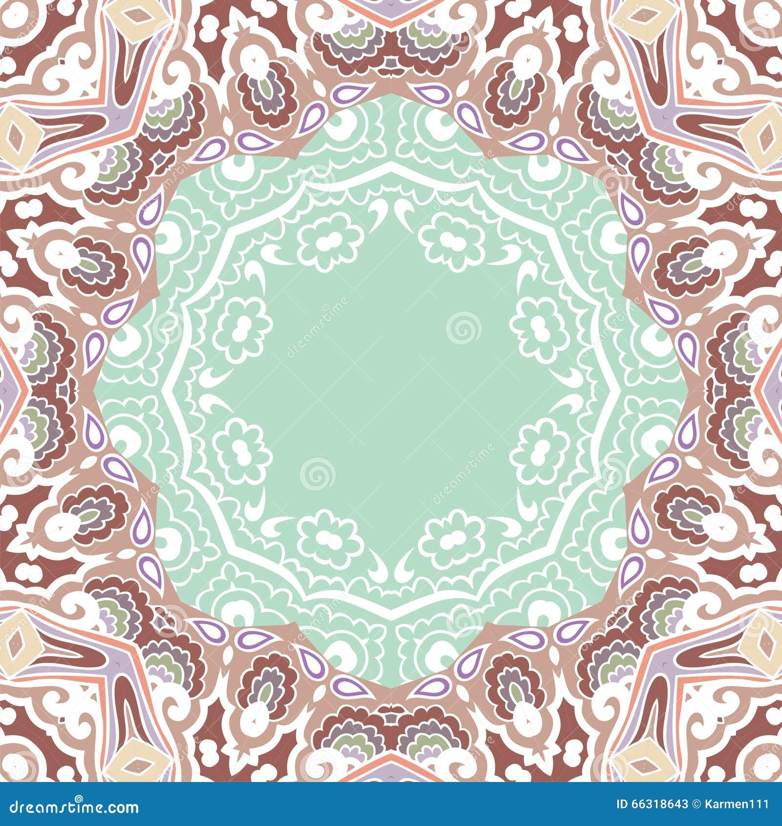 Mod le de cadre de paisley de mandala r tro brown blanc - Modele de mandala ...