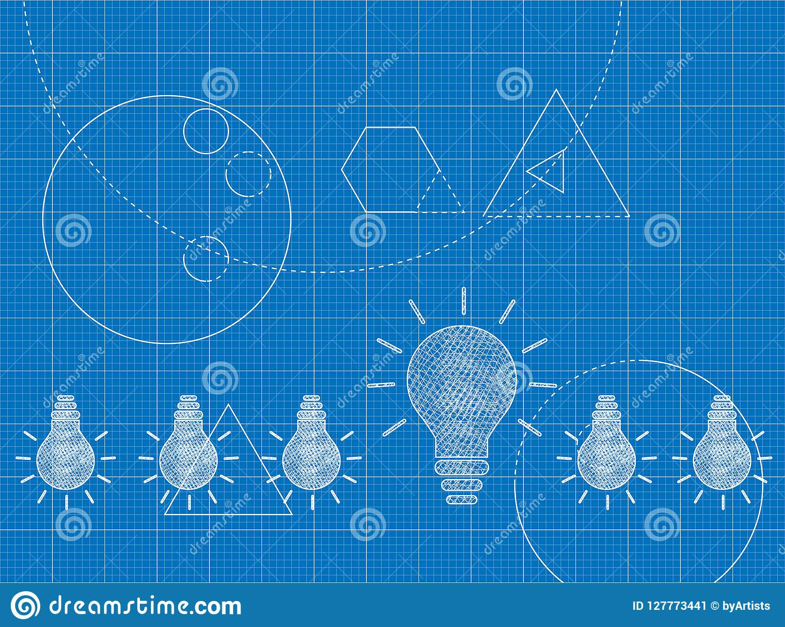 Modèle de concept d innovation avec les ampoules
