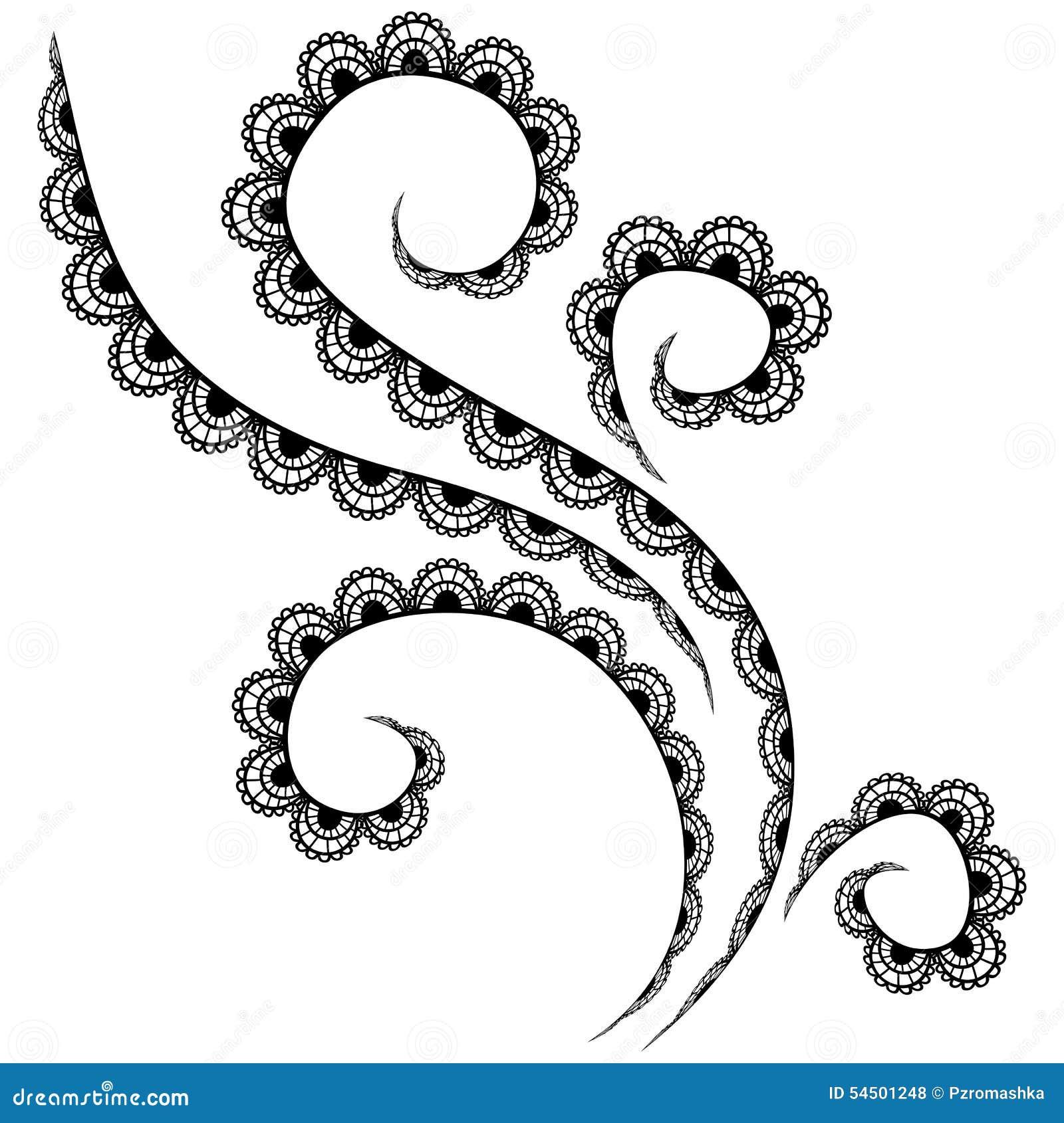 Modèle de dentelle de vecteur sur un fond blanc