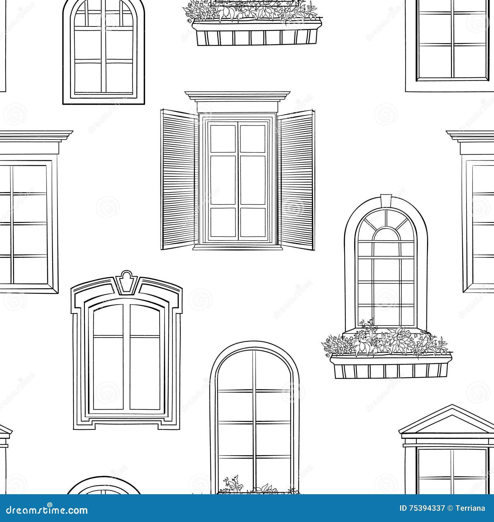 Modèle De Fenêtre Style Architectural Différent De Griffonnage De