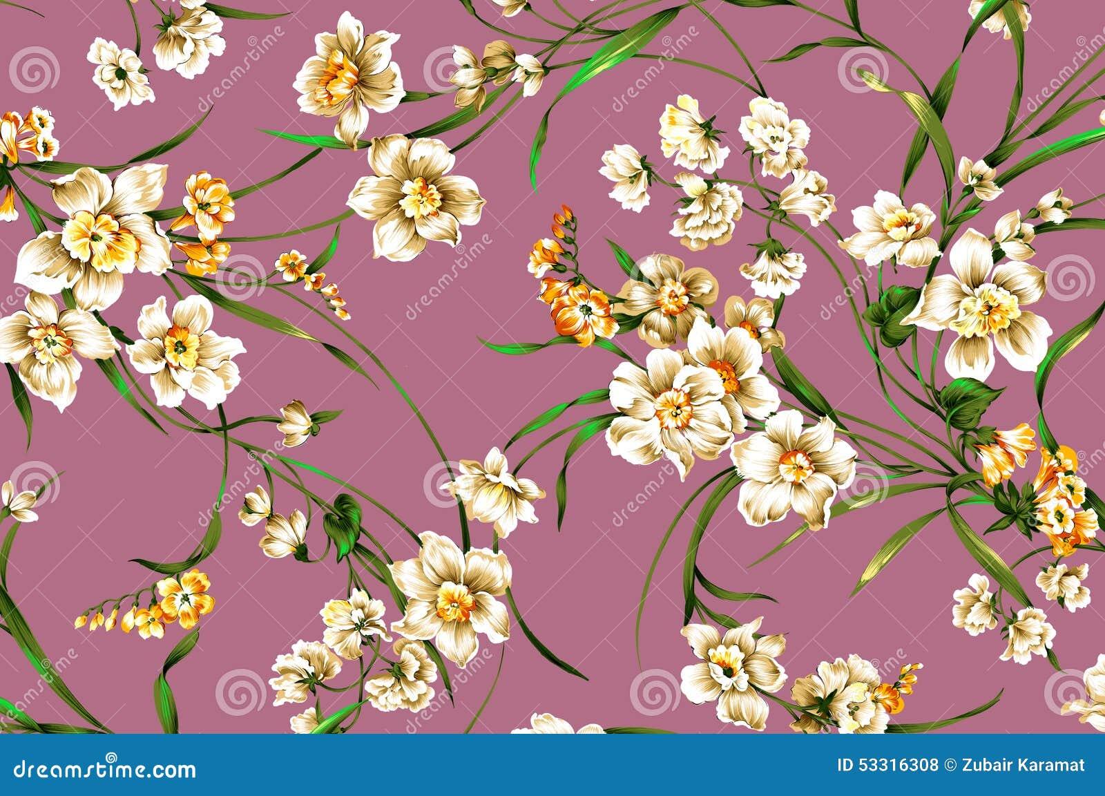 Modele De Fleur Classique De Vintage De Papier Peint Sur Le Fond