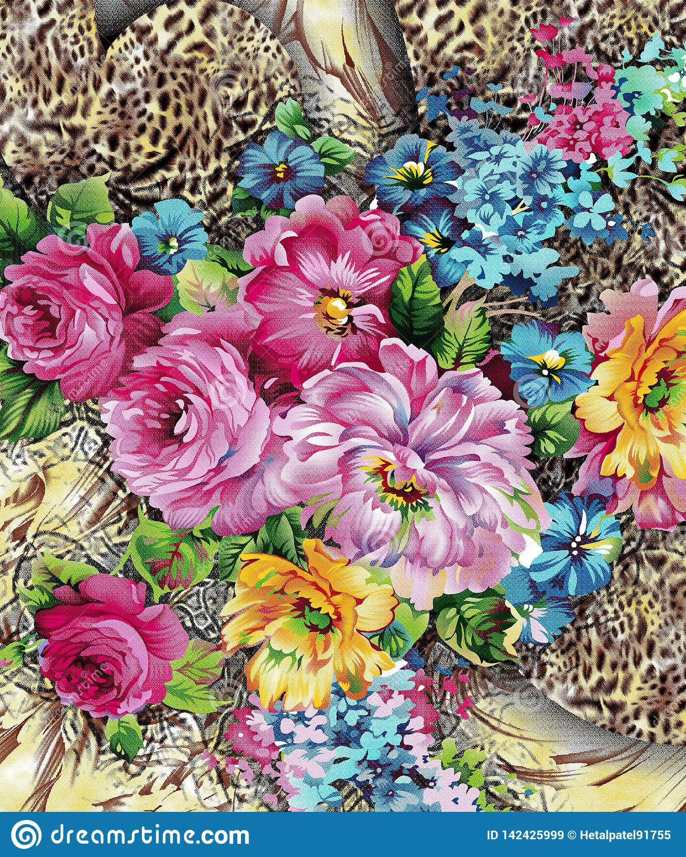 Modèle de fleur de digitel d aquarelle