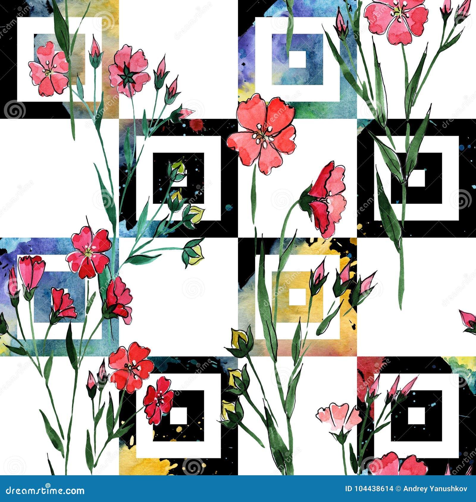 Modele De Fleur De Lin De Wildflower Dans Un Style D Aquarelle