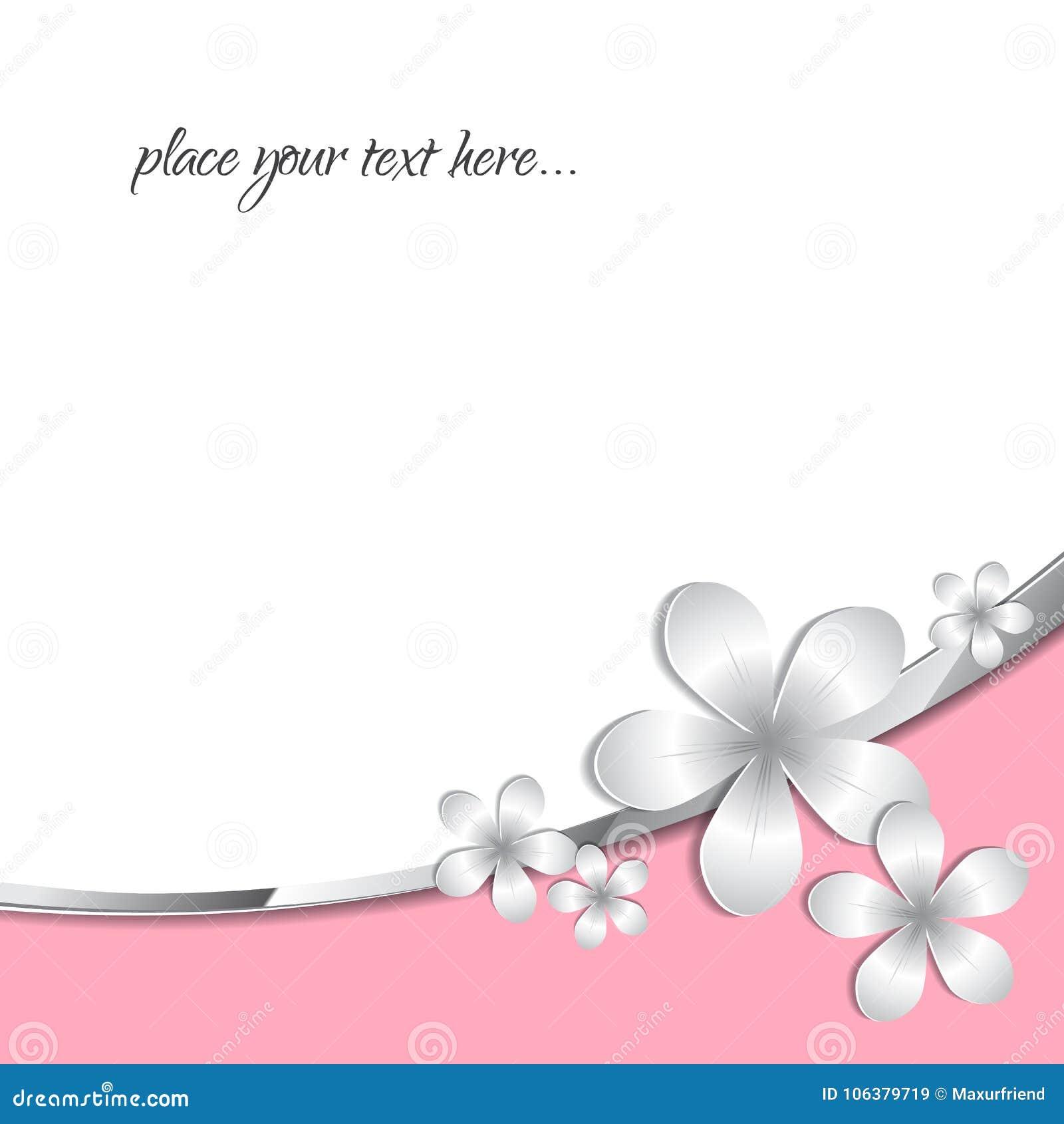 Modele De Fleur De Papier Abstrait Du Gris 3d Avec La Bande Rose Et