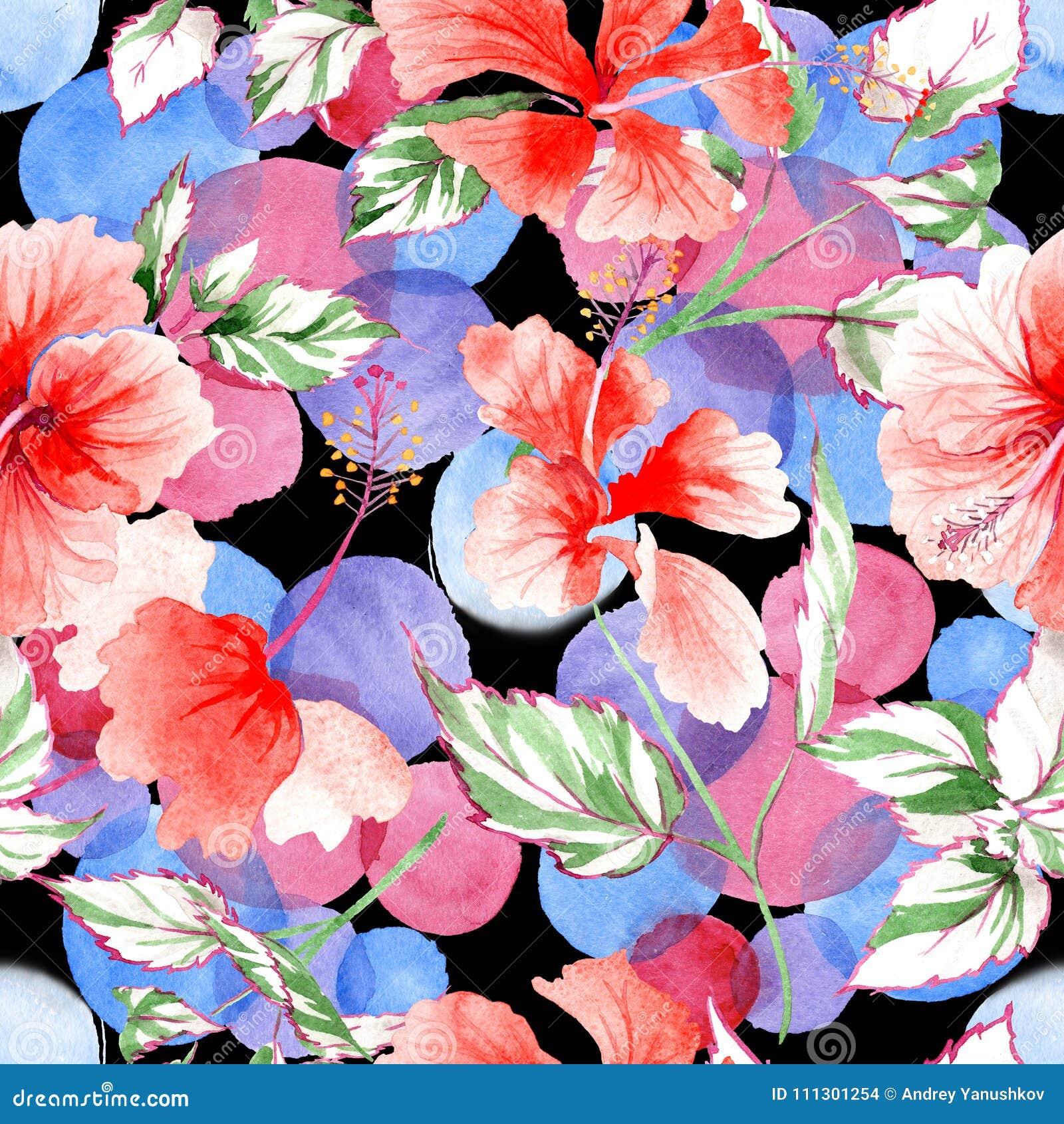 Modèle de fleur rose de Wildflower dans un style d aquarelle