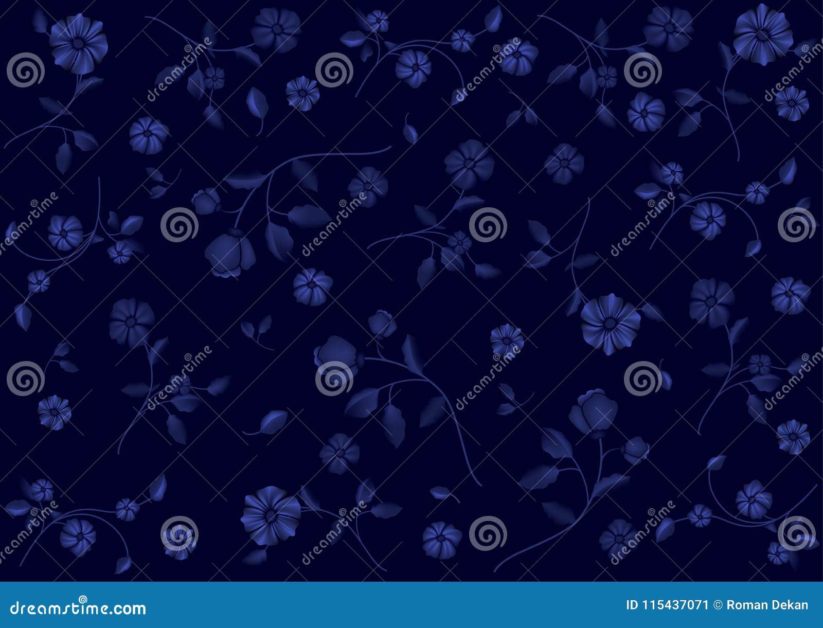 Modele De Fleur Sur Le Papier Peint Bleu Illustration De Vecteur
