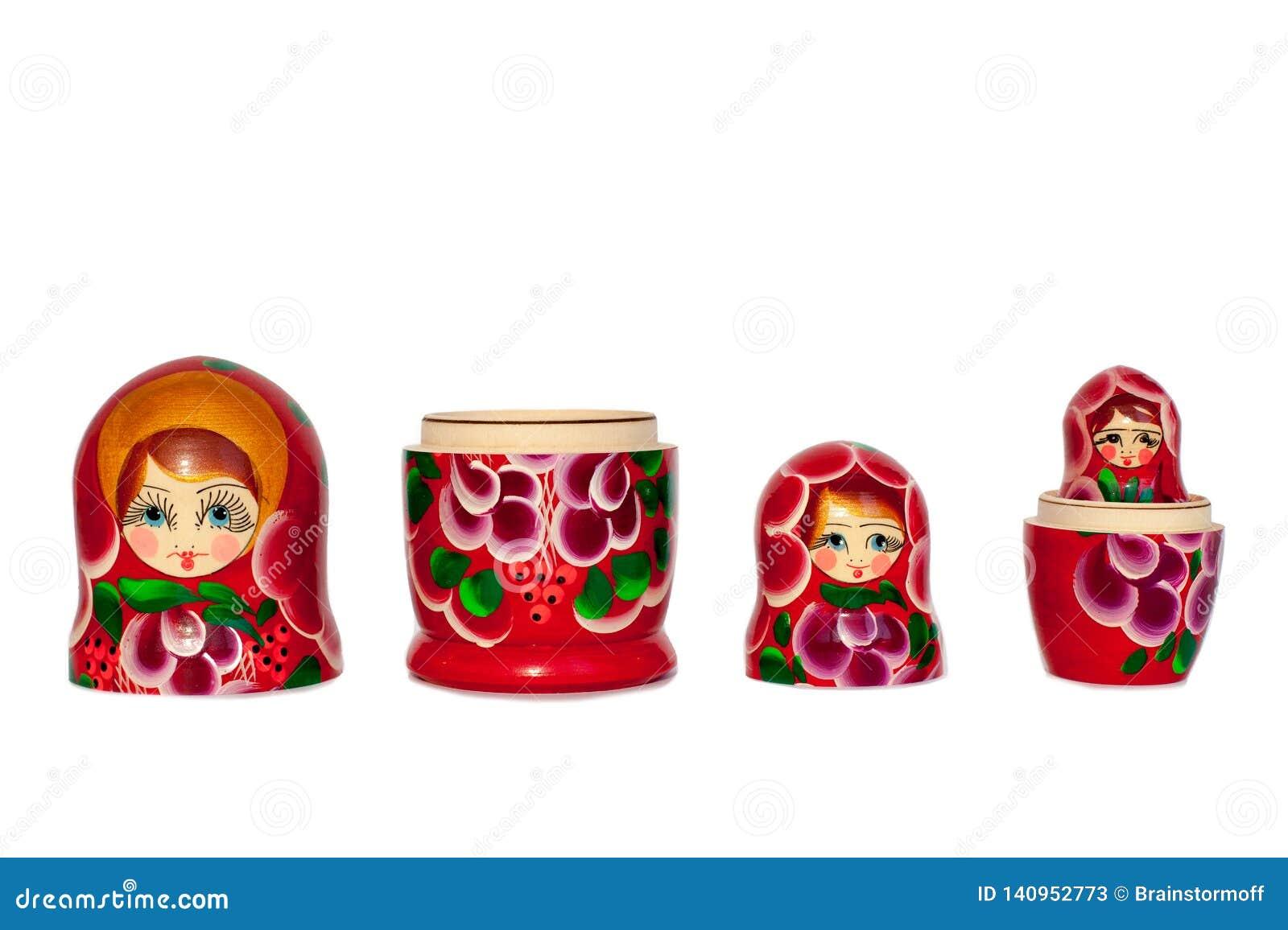Modèle de fleurs rouge de souvenir russe de poupée de Matreshka, pourpre et vert lumineux sur le plan rapproché d isolement par f