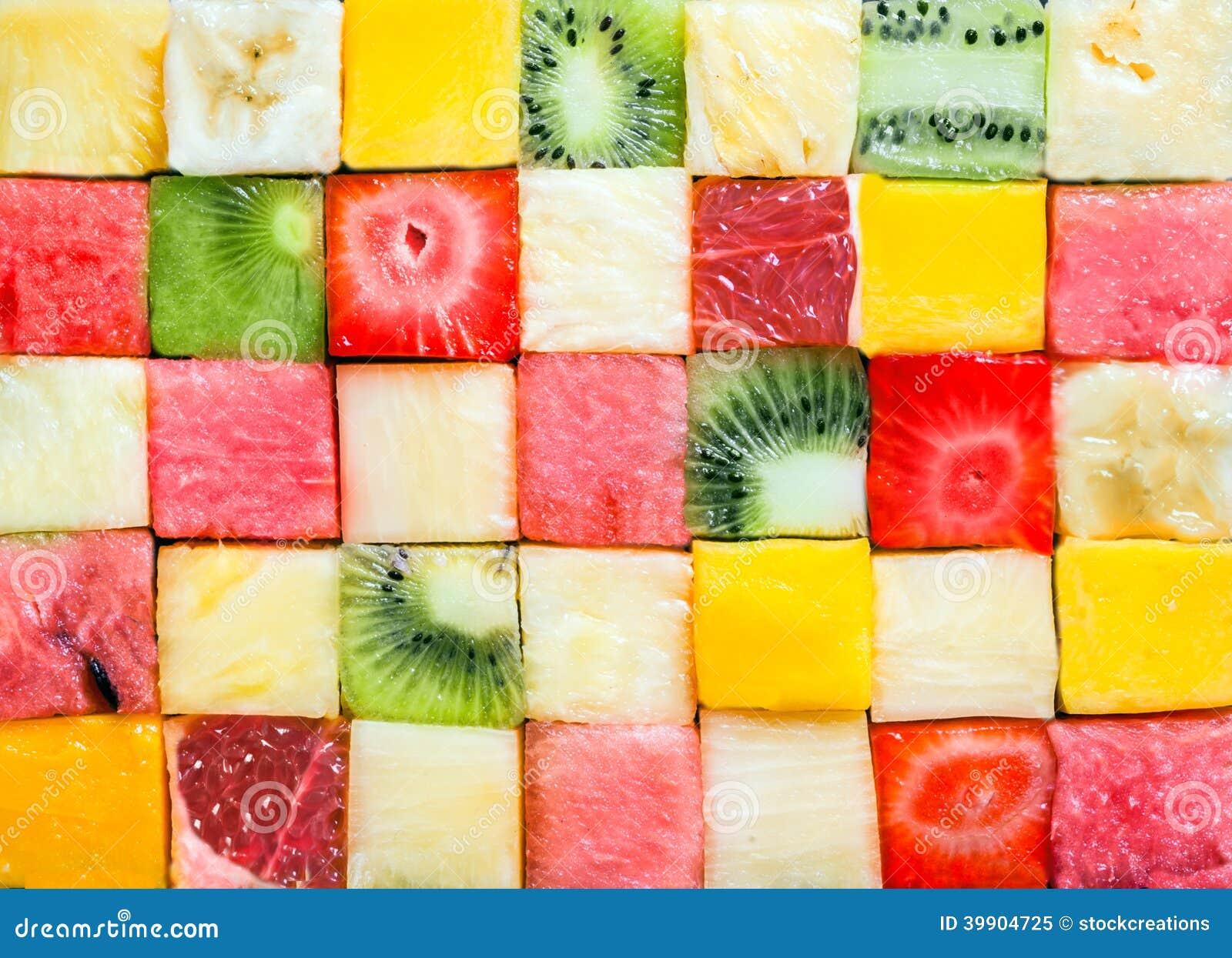 Modèle de fond et texture des cubes en fruit
