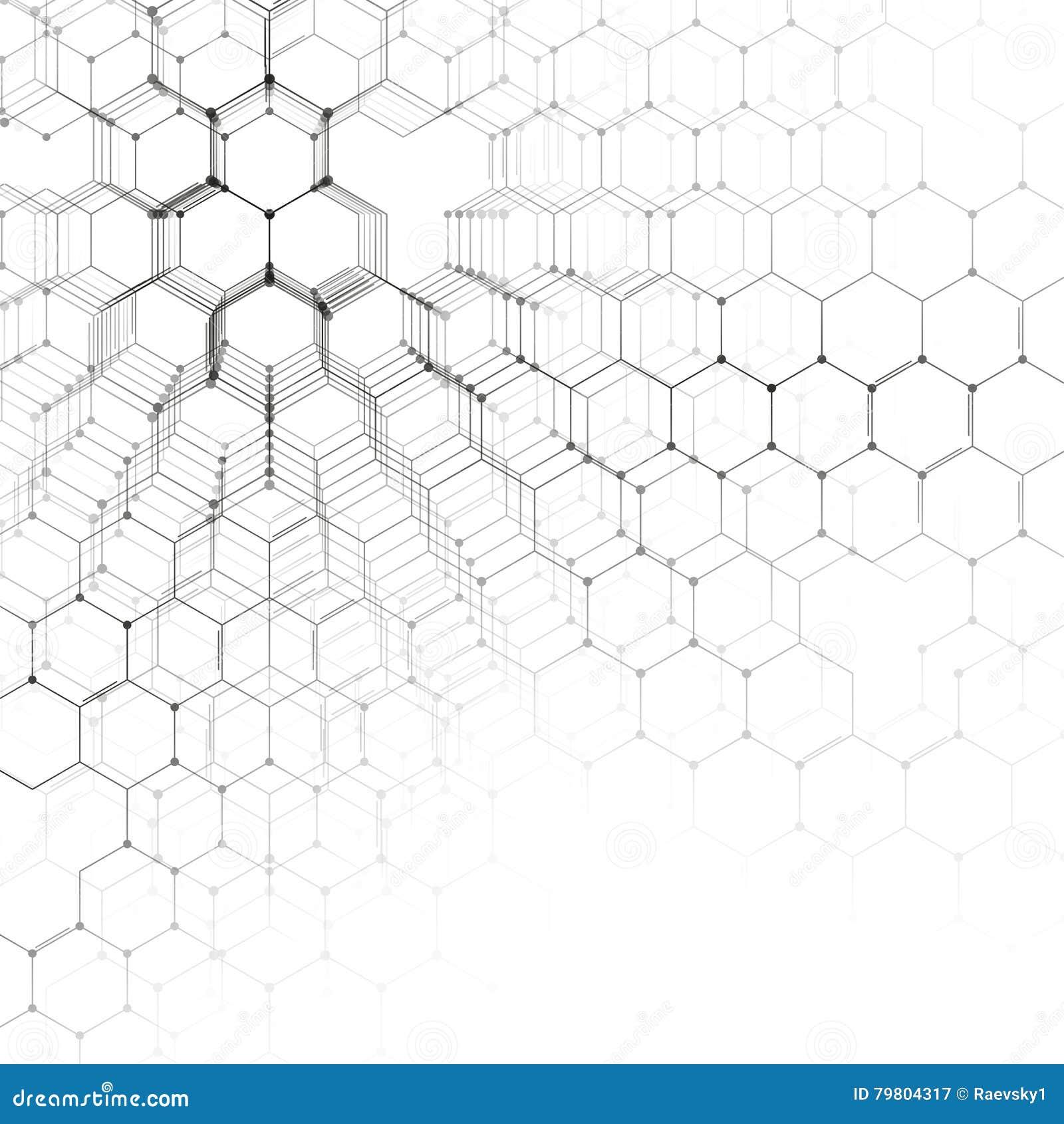 Modèle de la chimie 3D, structure hexagonale de molécule sur le blanc, recherche médicale scientifique Médecine, la science et