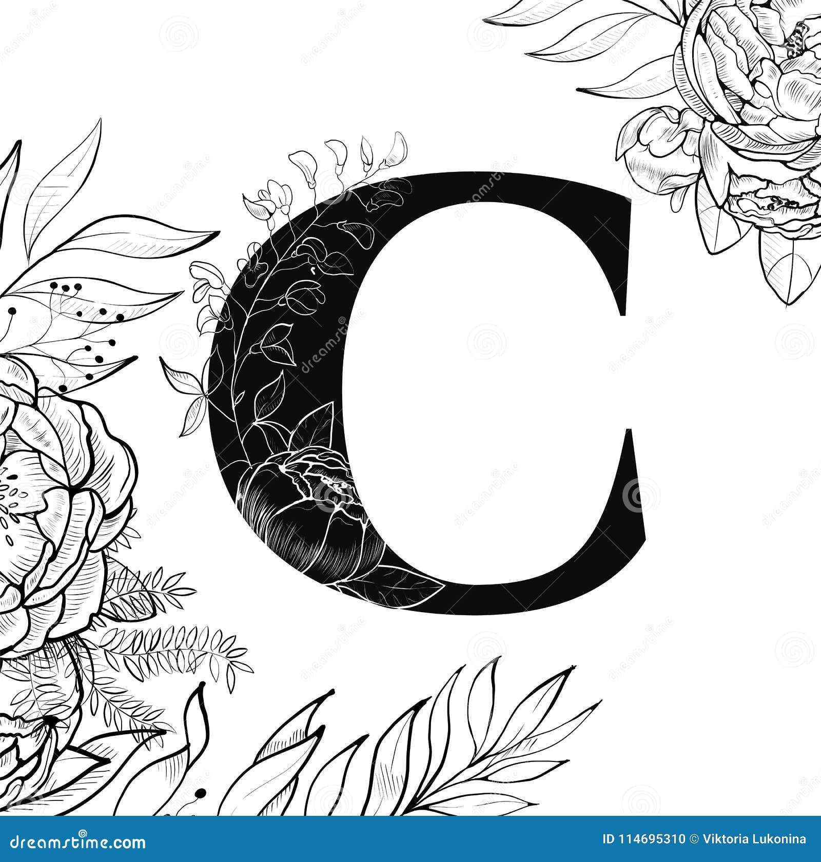 Modèle de la lettre C d alphabet de fleur