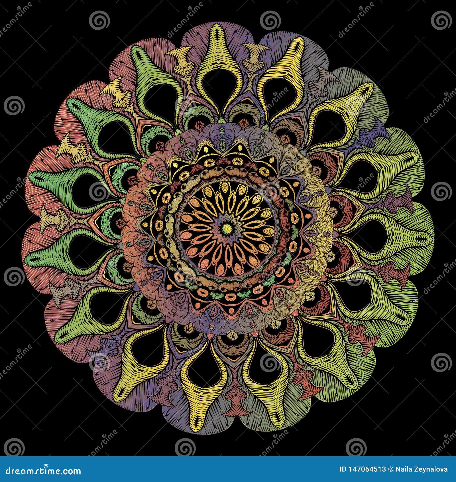 Modèle de mandala d arabesque de broderie Ornement floral de Paisley de rond de tapisserie colorée de vecteur Texture grunge Fleu