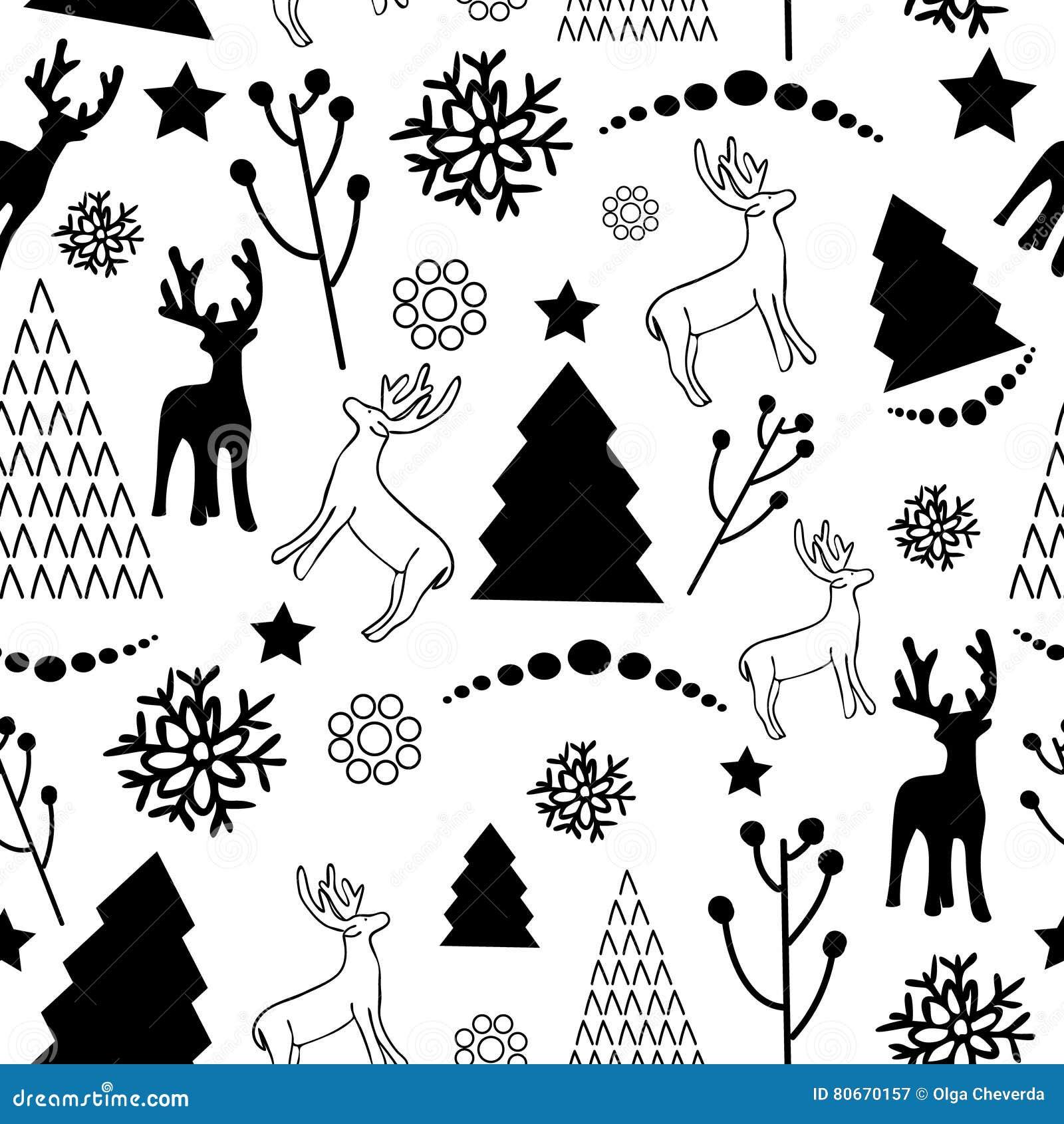 Modèle De Noël Noir Et Blanc Illustration De Vecteur