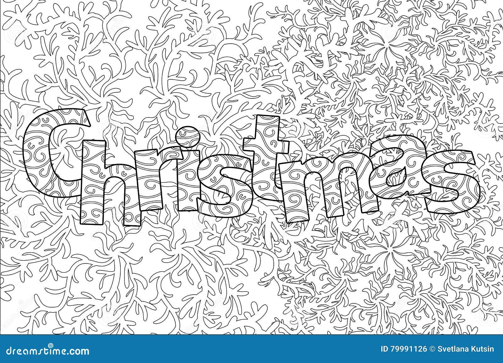 Modèle De Noël Pour Livre De Coloriage Adulte Illustration Stock