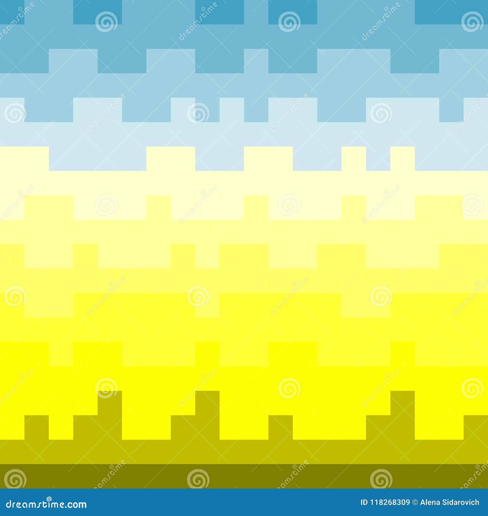 Modèle De Pixel Coucher De Soleil Et Ciel Bleu Au Dessus De