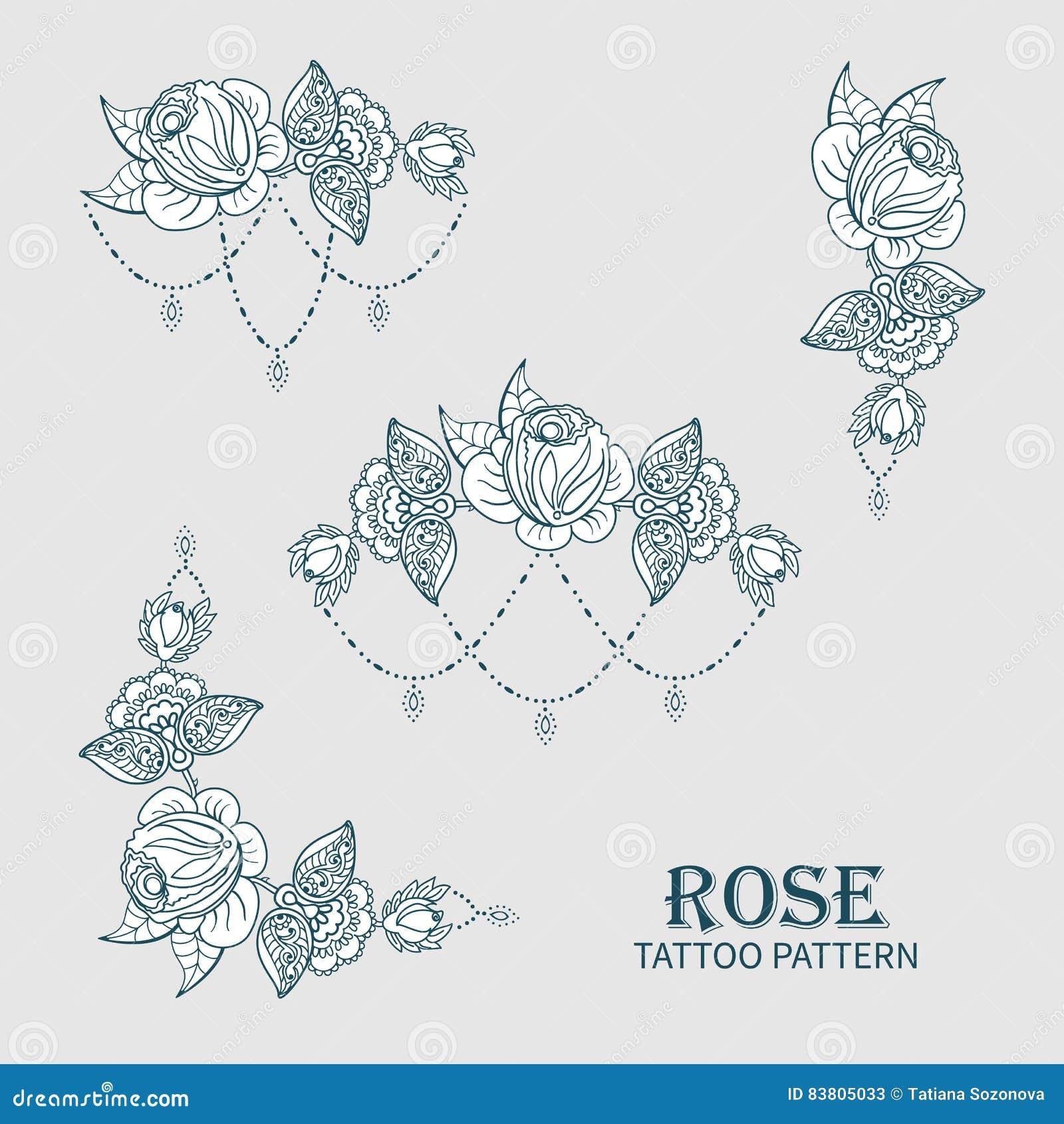 Modele De Tatouage De Rose Illustration De Vecteur Illustration Du