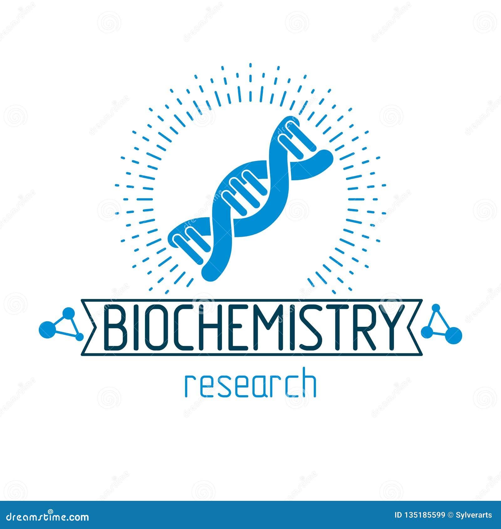 Modèle de vecteur des brins humains d ADN Le logotype abstrait conceptuel de recherche en matière de biochimie peut être employé