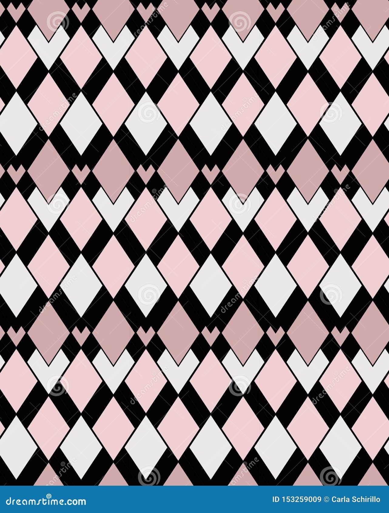 Modèle de vecteur de rose sur toute la surface géométrique et de places noires