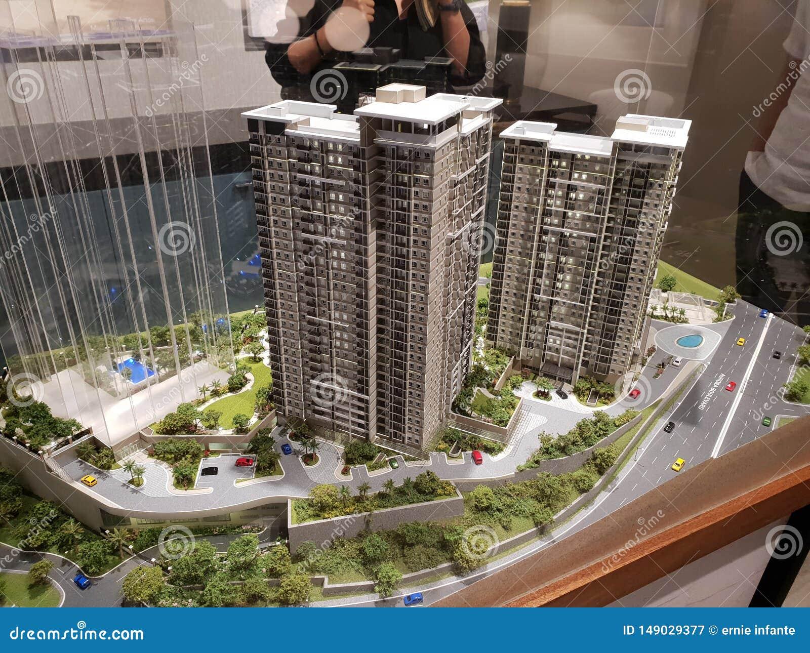 Modèle des bâtiments de condominium dans Rockwell, ville Philippines de Makati