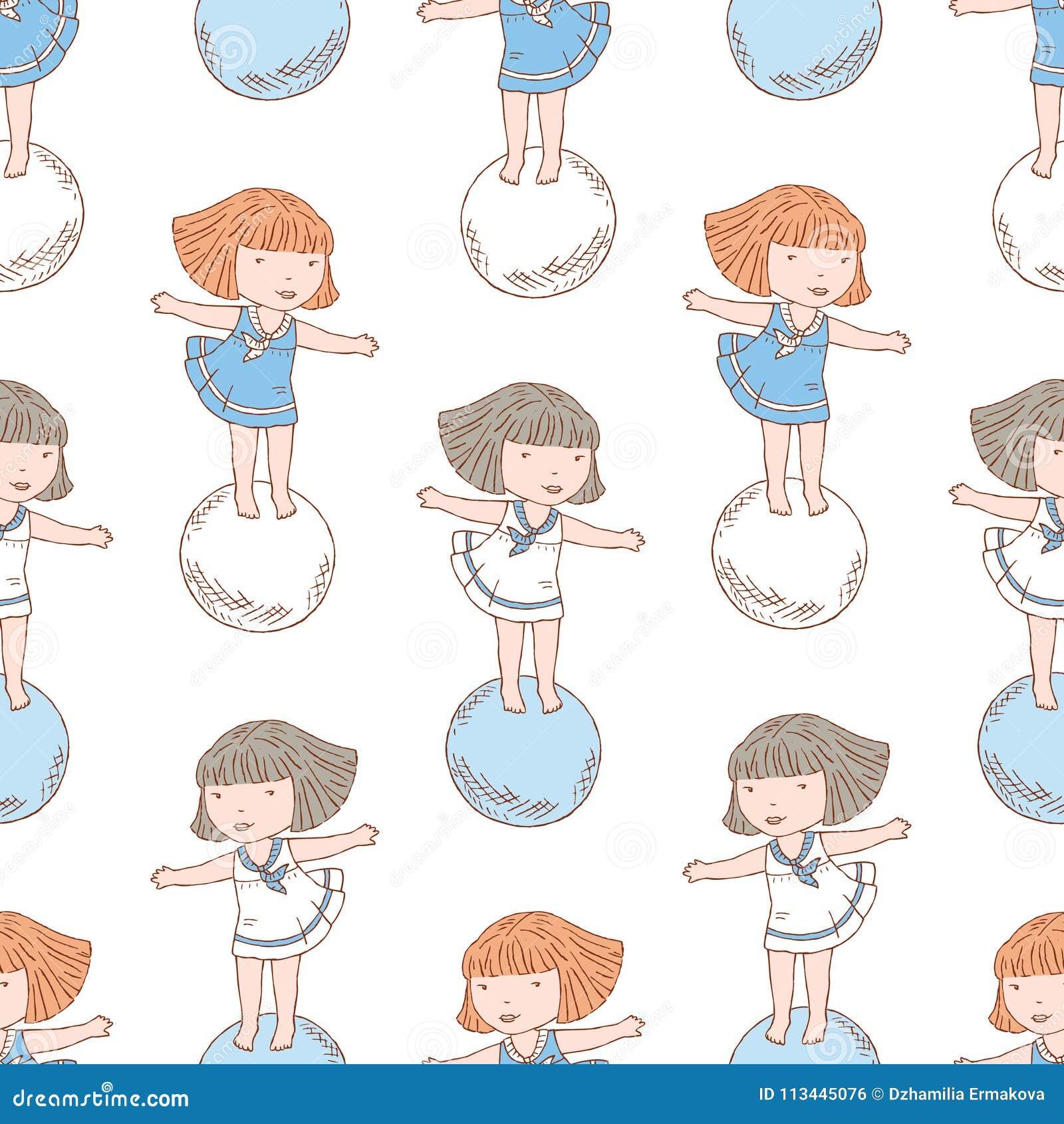 Modèle Des Petites Filles Sur Les Boules Illustration De