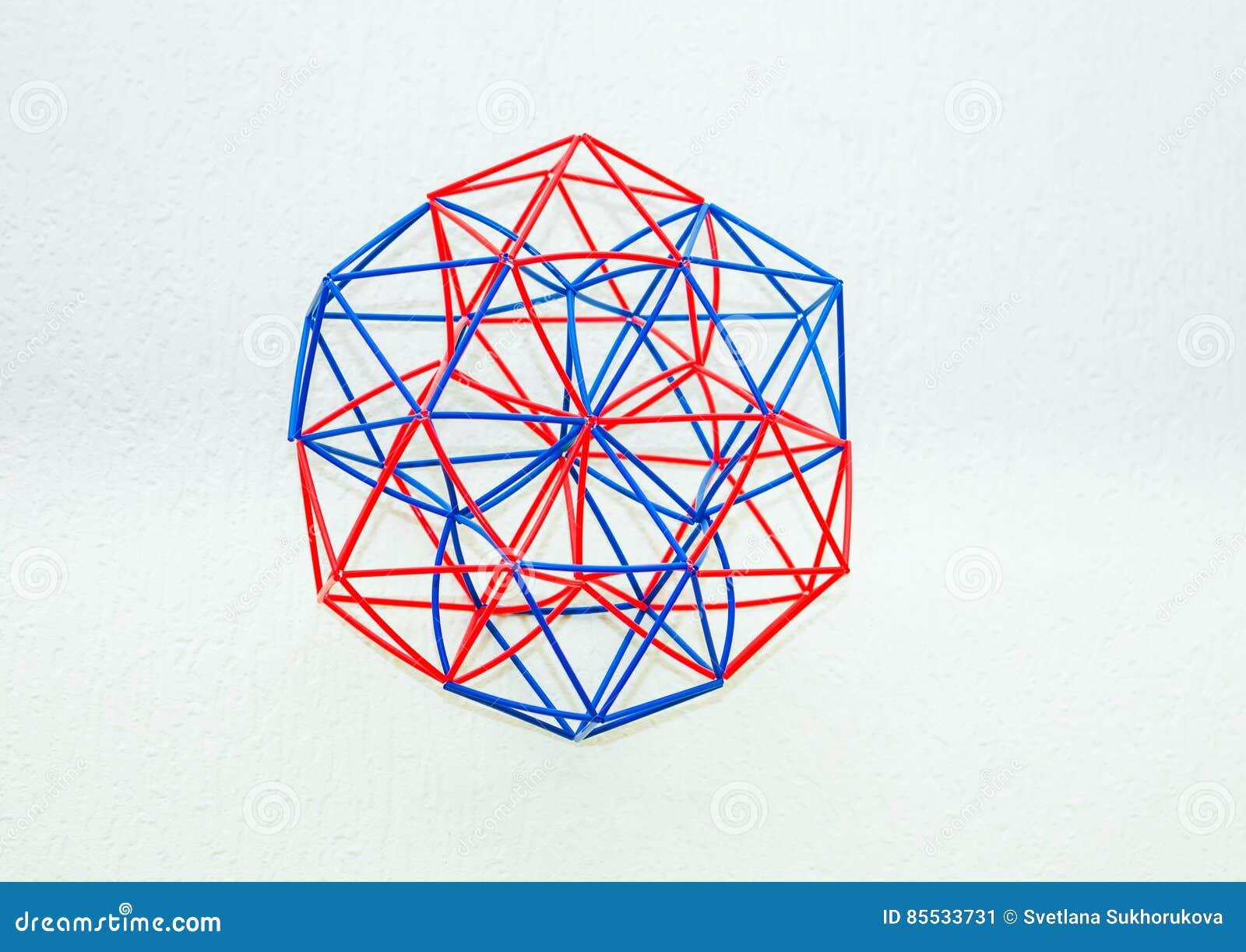 Modèle dimensionnel fait main coloré Of Geometric Solid
