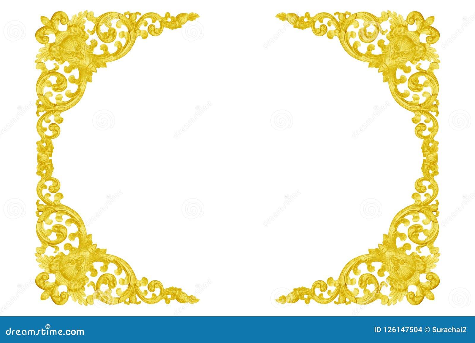 Modèle du cadre d or découpé par bois d isolement sur le blanc