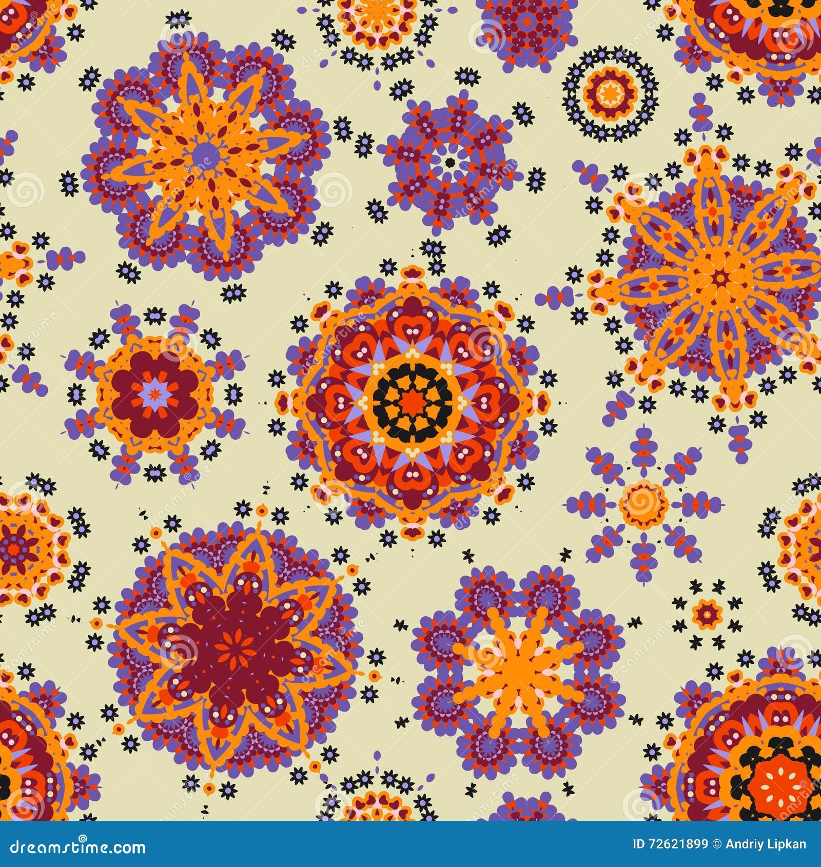 Modèle Ethnique Dans La Couleur En Pastel Avec Les Fleurs