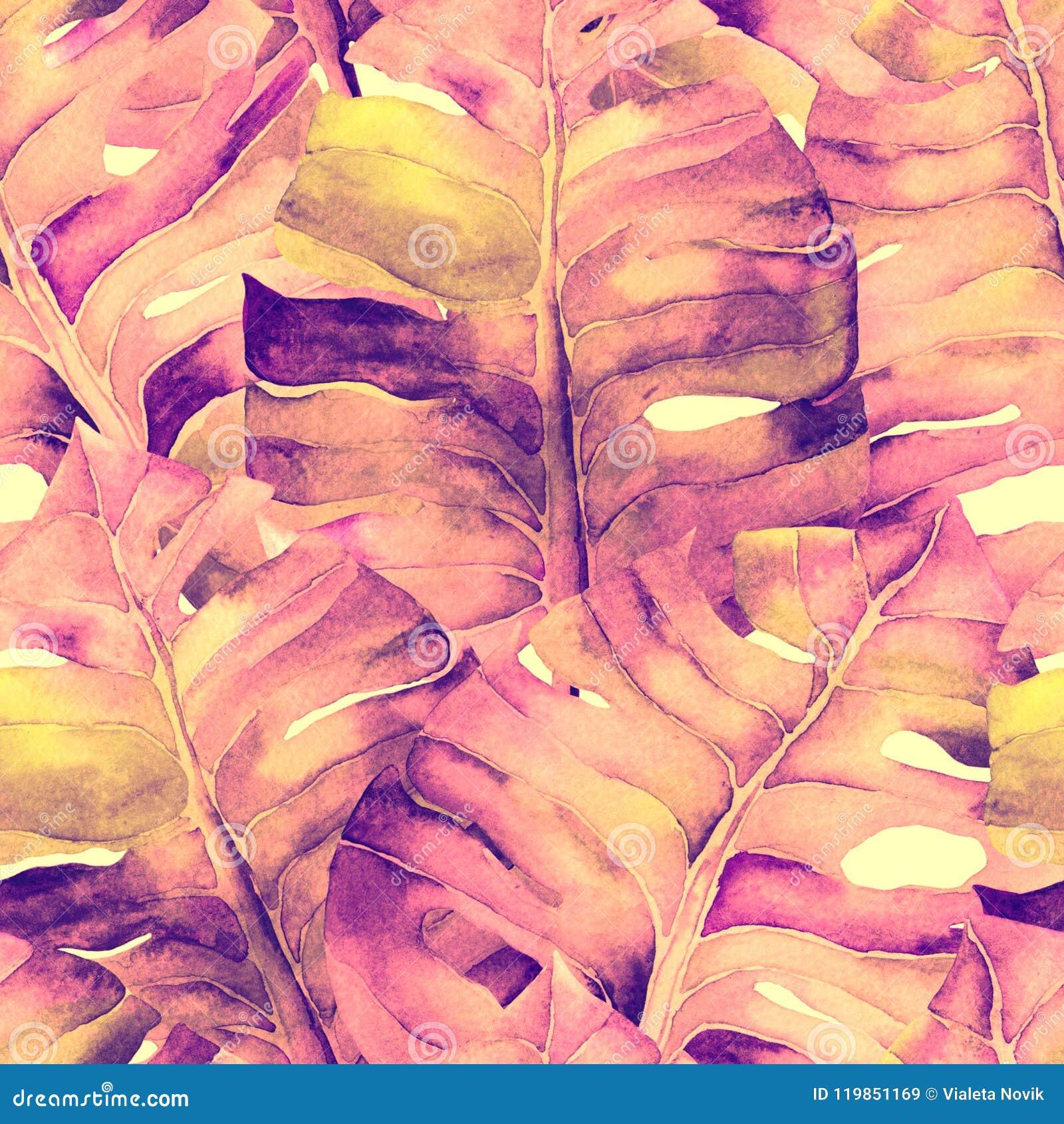 Modèle exotique rouge-rose Feuilles de tropique d aquarelle