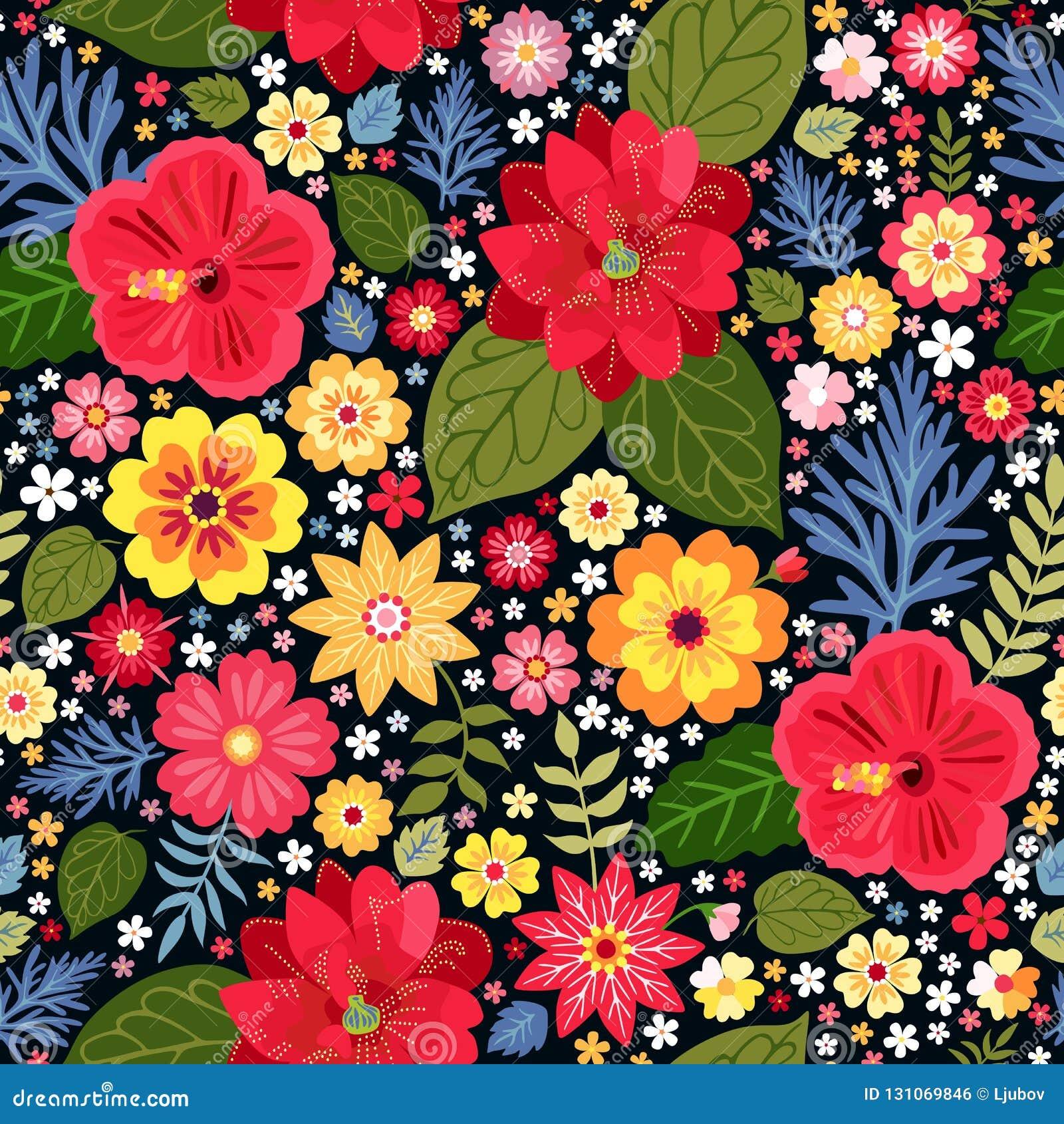 Modèle floral écervelé vibrant avec les fleurs exotiques dans le vecteur Fond coloré sans joint Illustration de vecteur