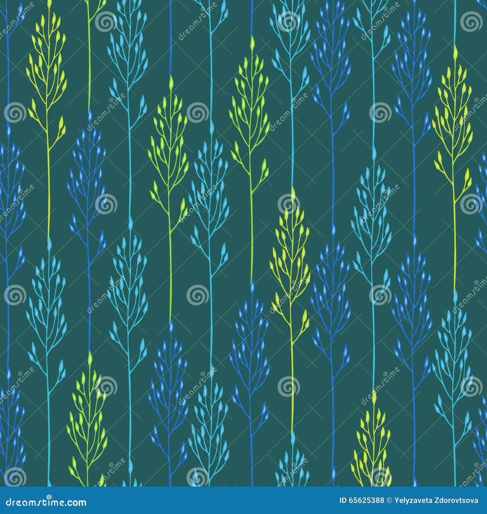 Modèle floral avec les épillets et l herbe