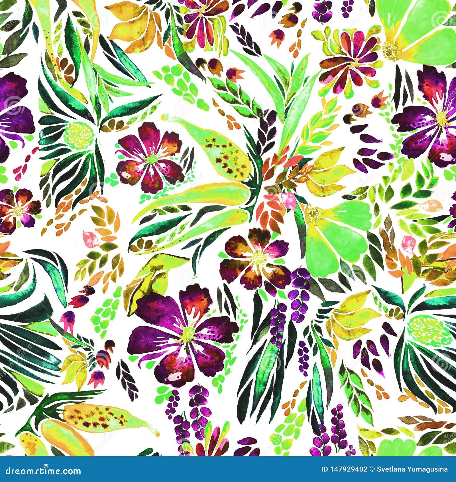 Modèle floral lumineux d aquarelle de concepteur