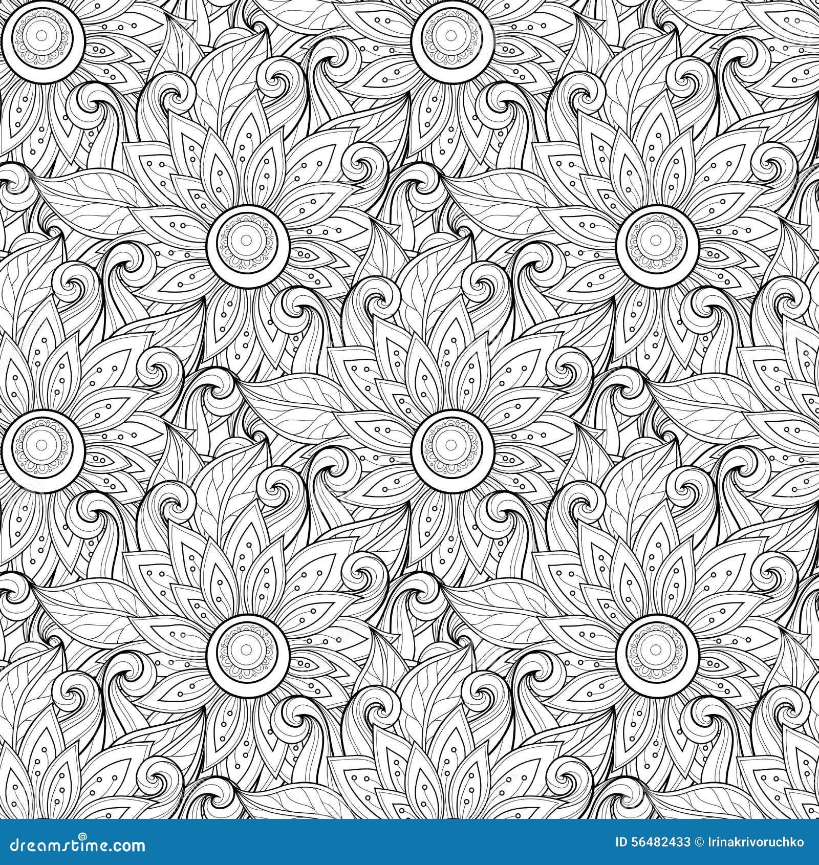 Modèle floral monochrome sans couture de vecteur