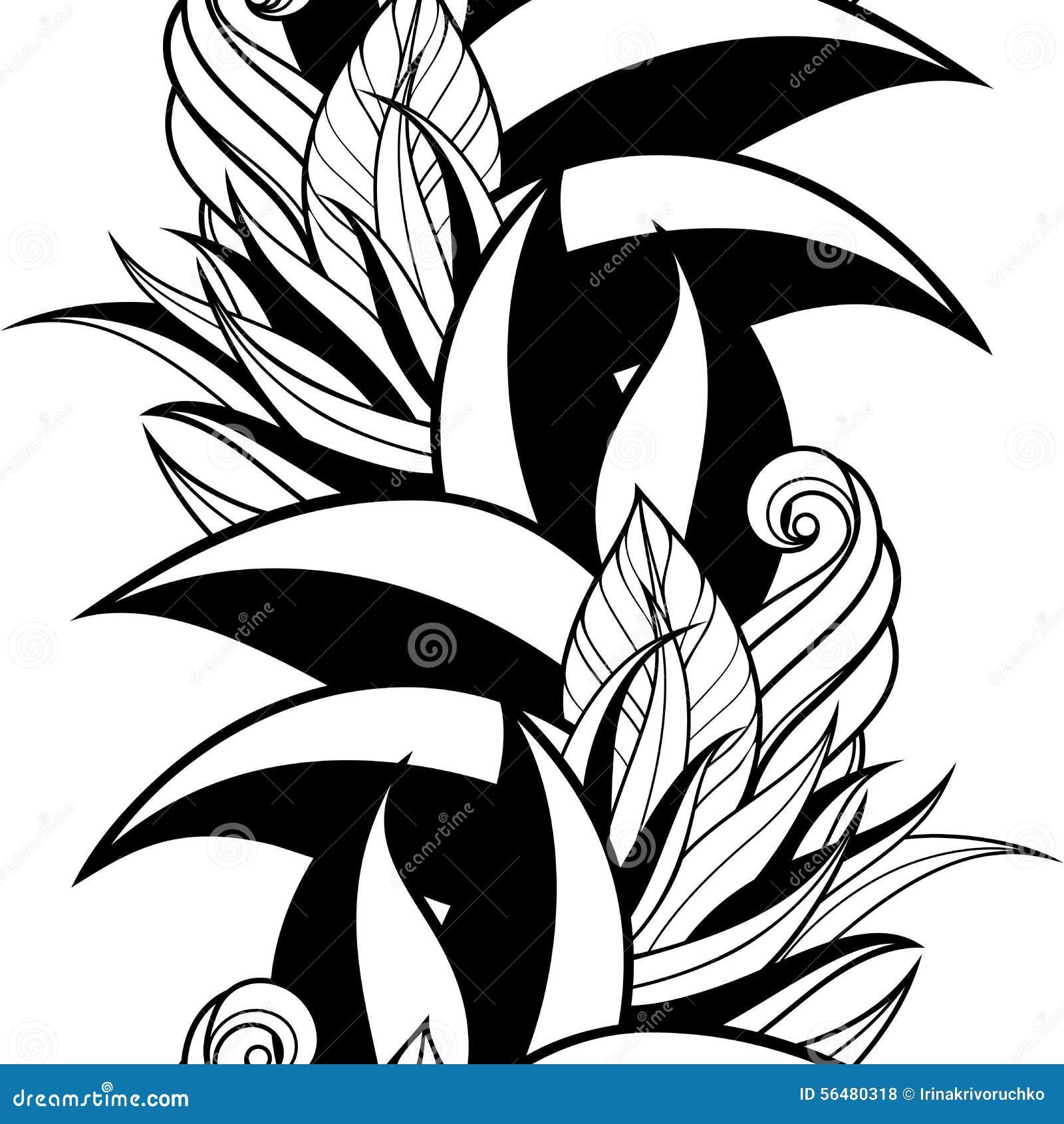 Modèle floral monochrome sans couture (vecteur)