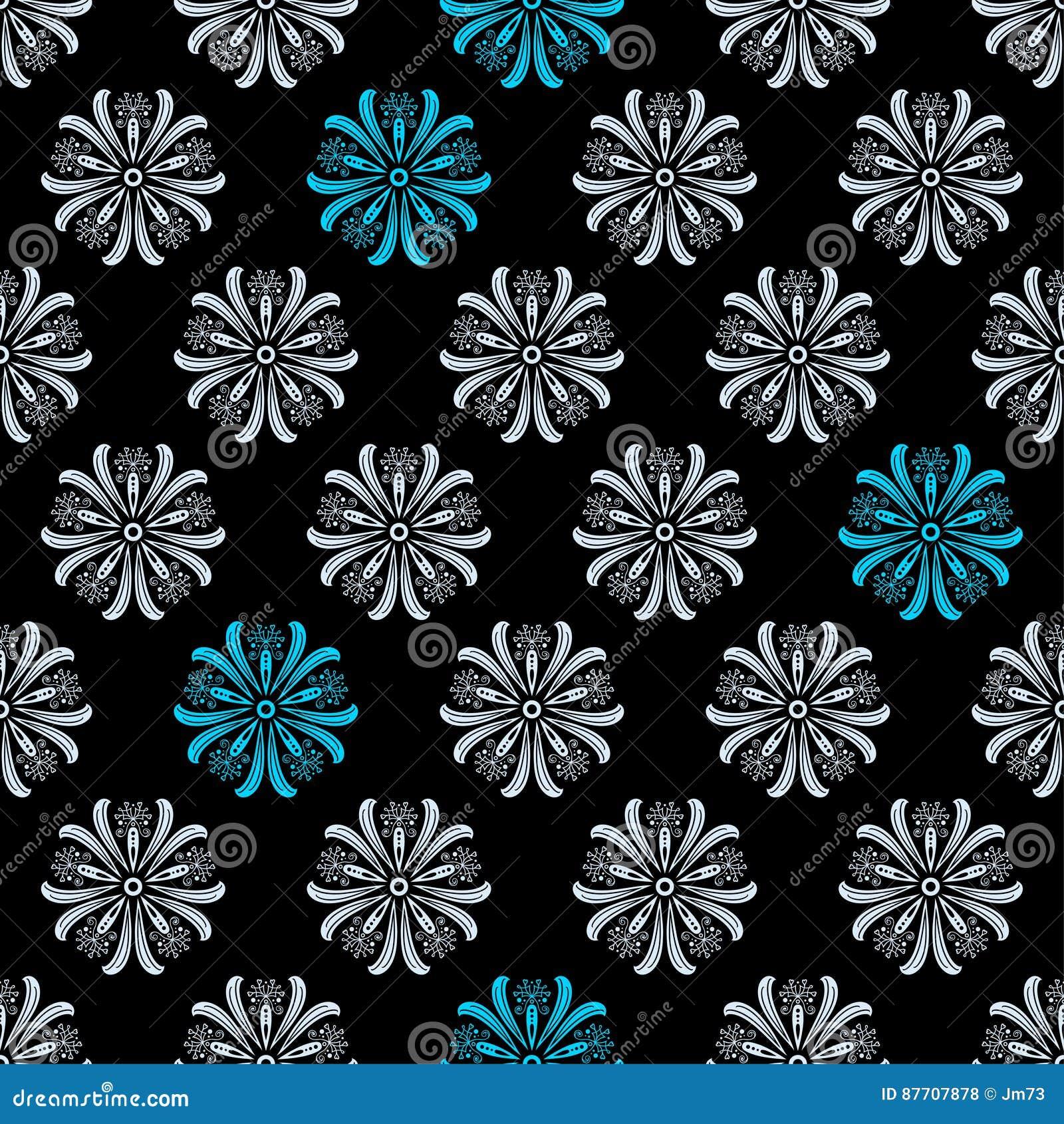 Modèle floral original sans couture sur le fond noir