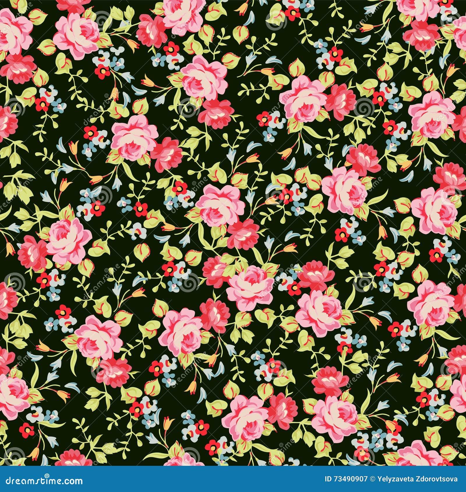 Modèle floral sans couture avec de petites roses roses, sur le fond noir
