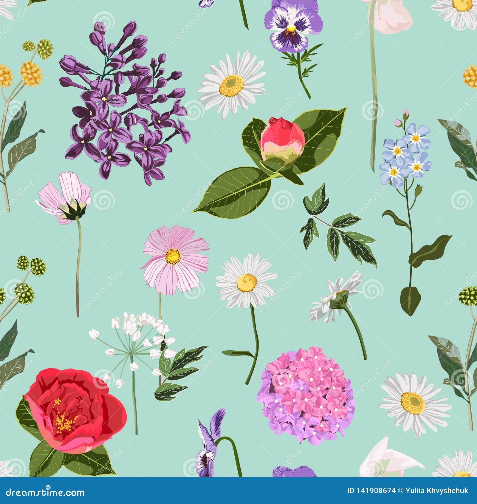 Modèle floral sans couture avec des beaucoup genre de fleurs de ressort sur le fond en bon état de cru